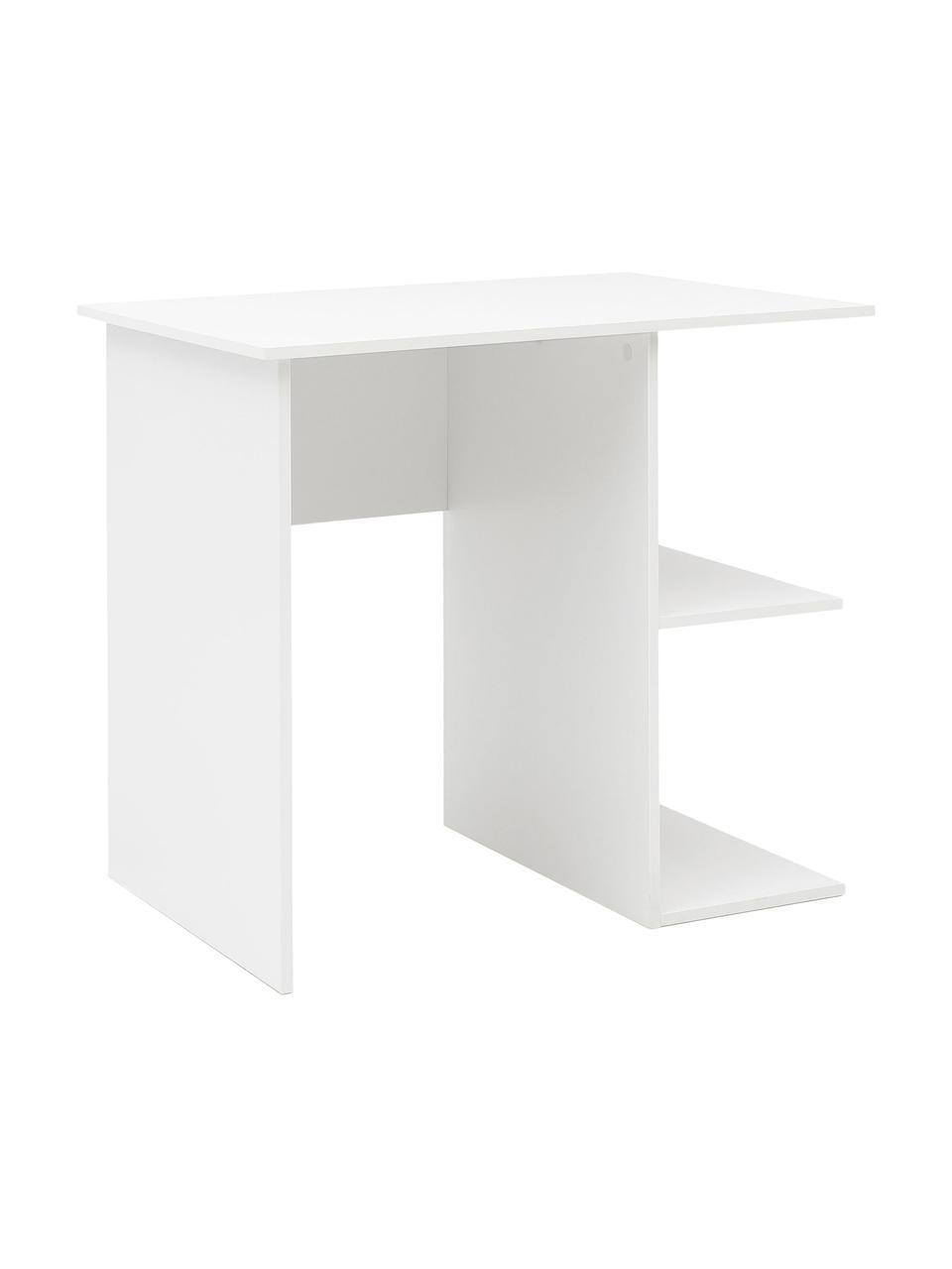 Kleine tafel Milo in mat wit, Melamine gecoate spaanplaat, Wit, 82 x 76 cm