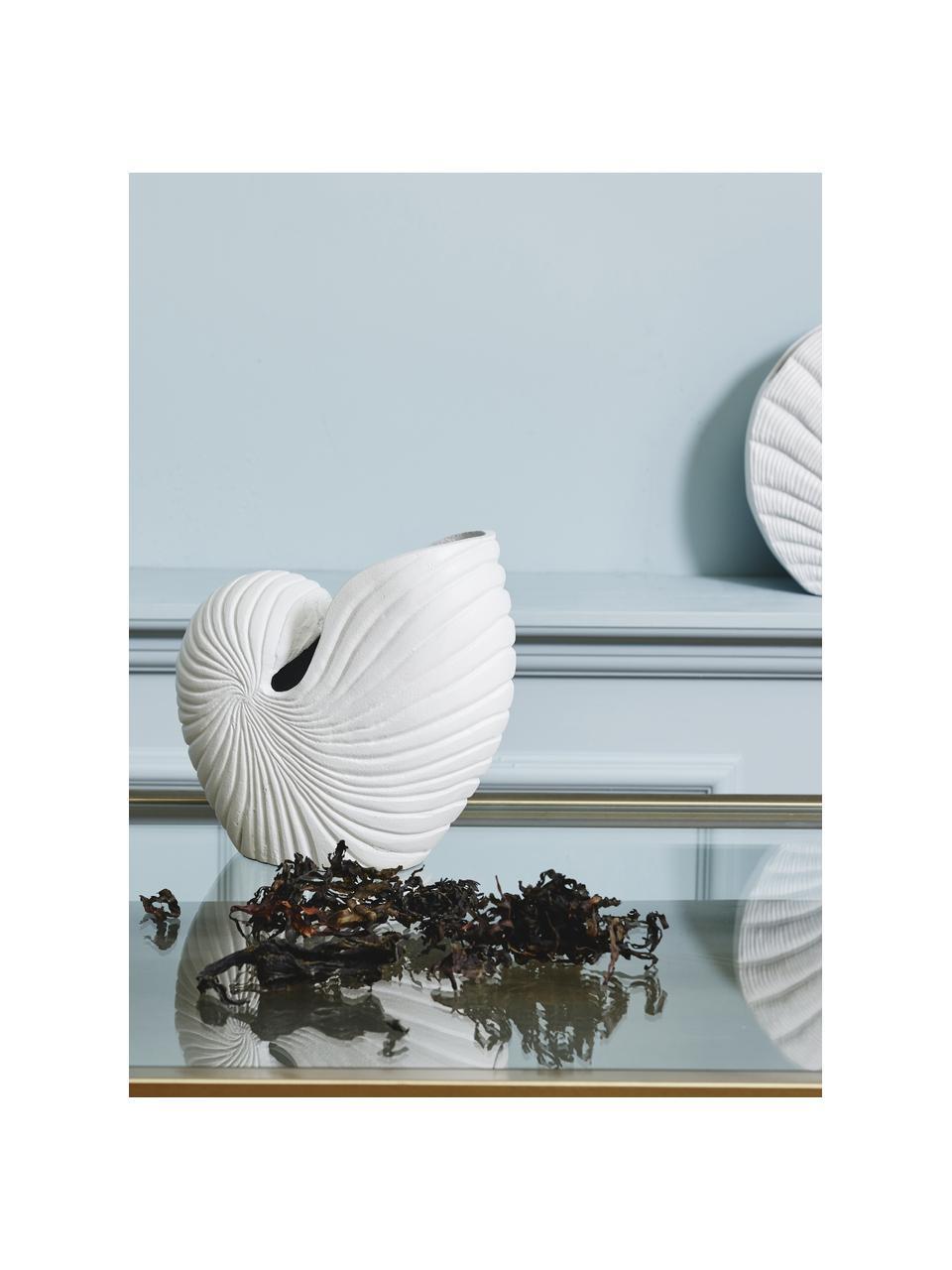 Großer Übertopf Rakitu aus Metall, Aluminium, beschichtet, Weiß, 27 x 25 cm