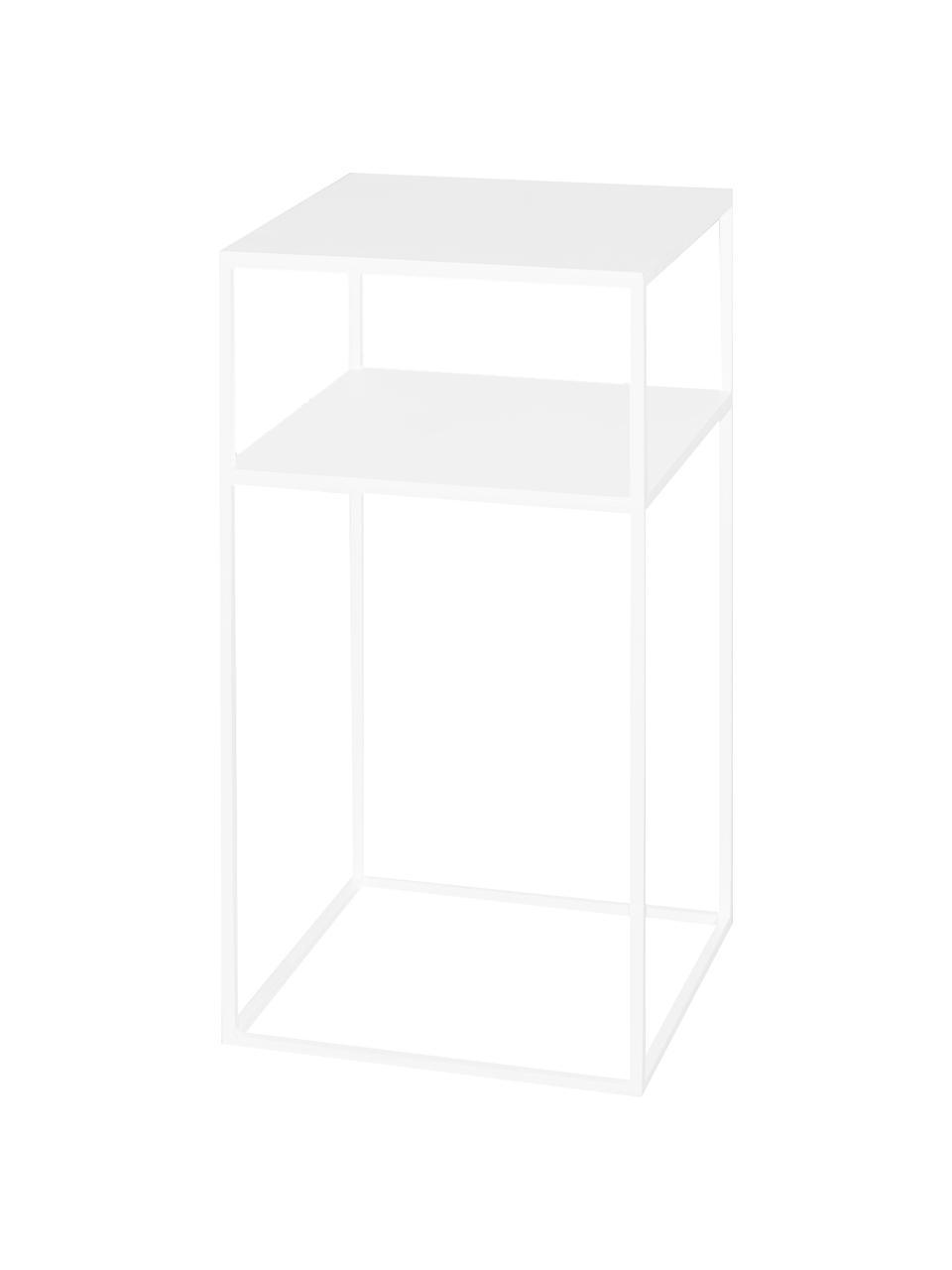 Tavolino  in metallo con piano d'appoggio Tensio, Metallo verniciato a polvere, Bianco, Larg. 30 x Prof. 30 cm