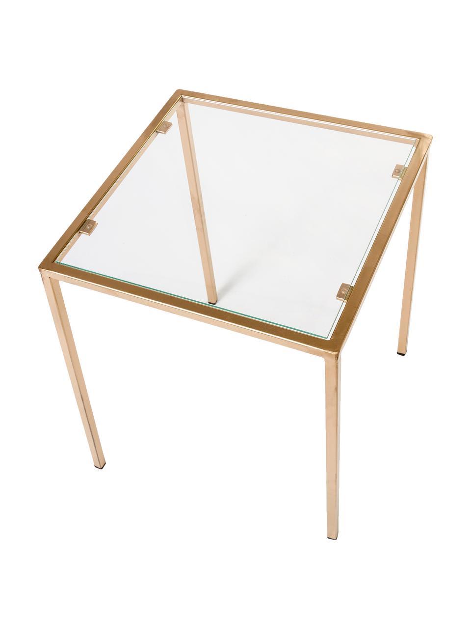 Tavolino in vetro Lennard, Piano d'appoggio: vetro temperato, Struttura: metallo rivestito, Ottonato, Larg. 40 x Prof. 40 cm