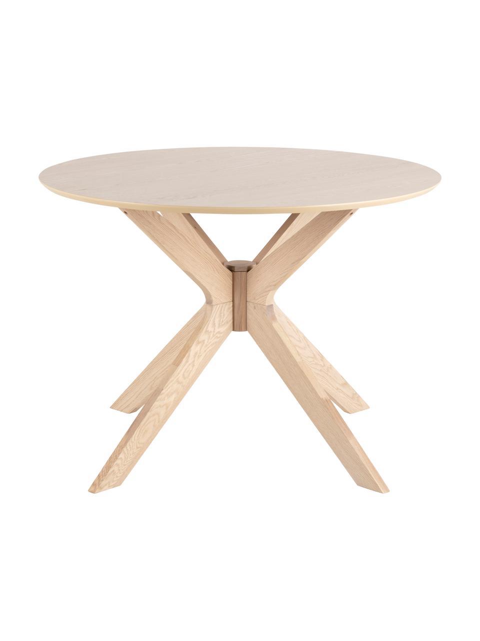 Okrągły stół do jadalni z forniru z drewna dębowego Duncan, Blat: płyta pilśniowa średniej , Nogi: drewno dębowe, lite, Fornir z drewna dębowego, Ø 105 x W 75 cm