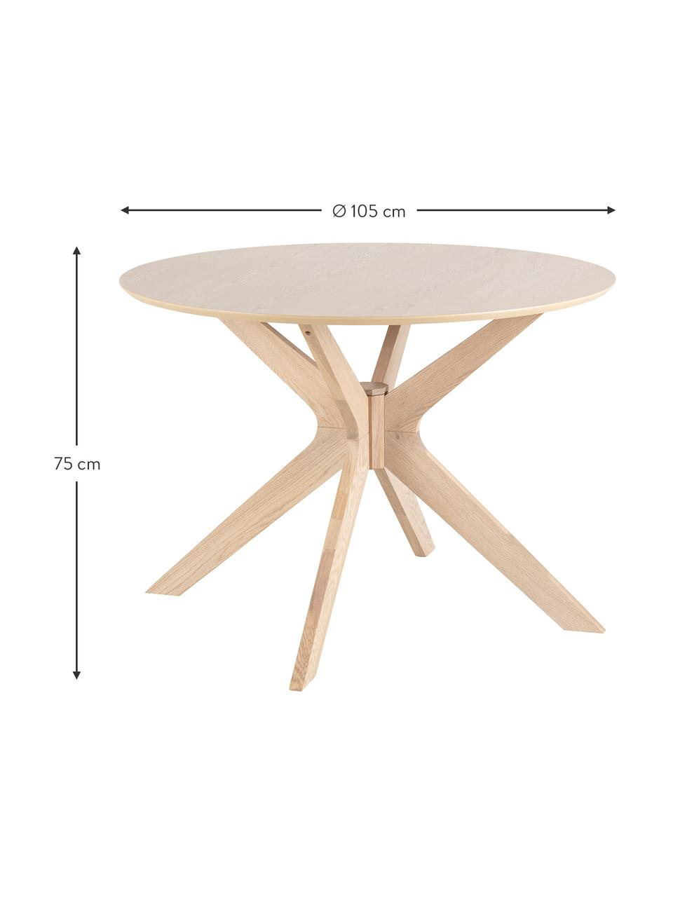 Ronde eettafel Duncan van hout, Tafelblad: MDF met eikenhoutfineer, Poten: massief eikenhout, Eikenhoutkleurig, Ø 105 x H 75 cm