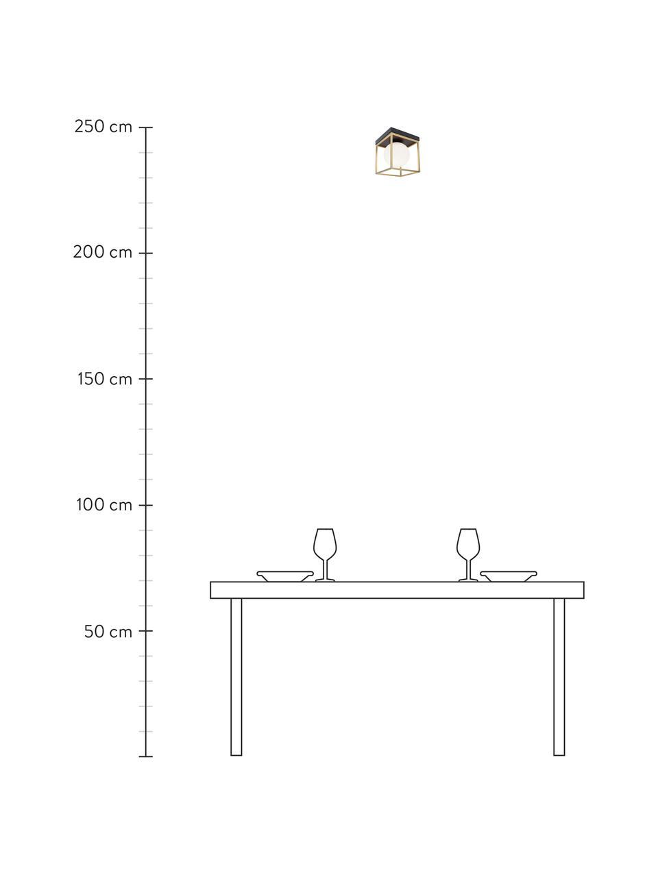 Kleine Deckenleuchte Juliet aus Glas, Lampenschirm: Opalglas, Baldachin: Metall, lackiert, Weiß, Messing, 19 x 20 cm