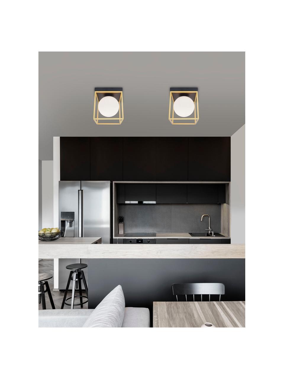Mała lampa sufitowa ze szkła Juliet, Biały, mosiądz, S 19 x W 20 cm