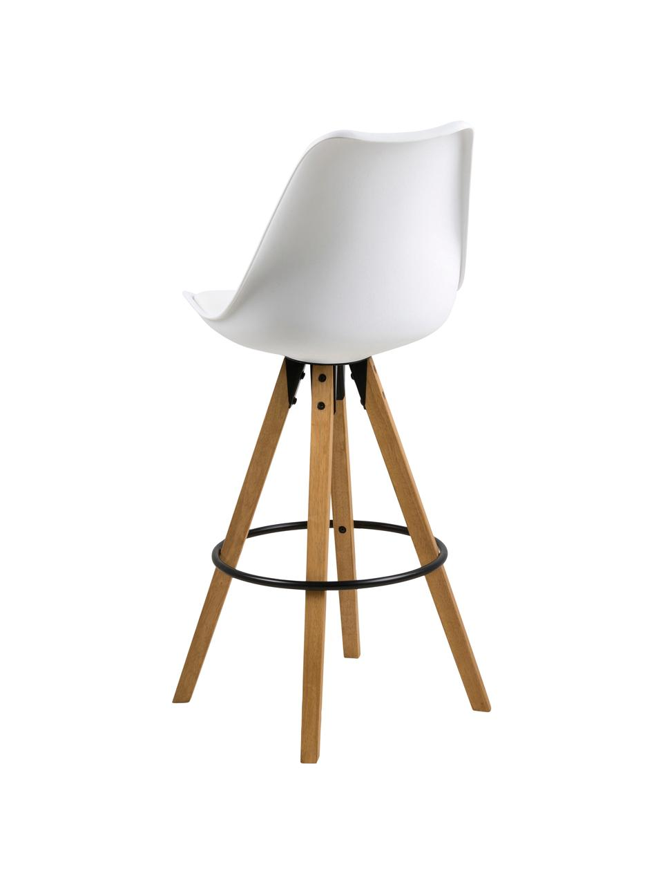 Barstühle Dima, 2 Stück, Sitzschale: Polyurethan, Bezug: Polyester, Beine: Gummibaumholz, geölt, Sitzschale: Weiß Beine: Gummibaumholz Fußstütze: Schwarz, 49 x 112 cm