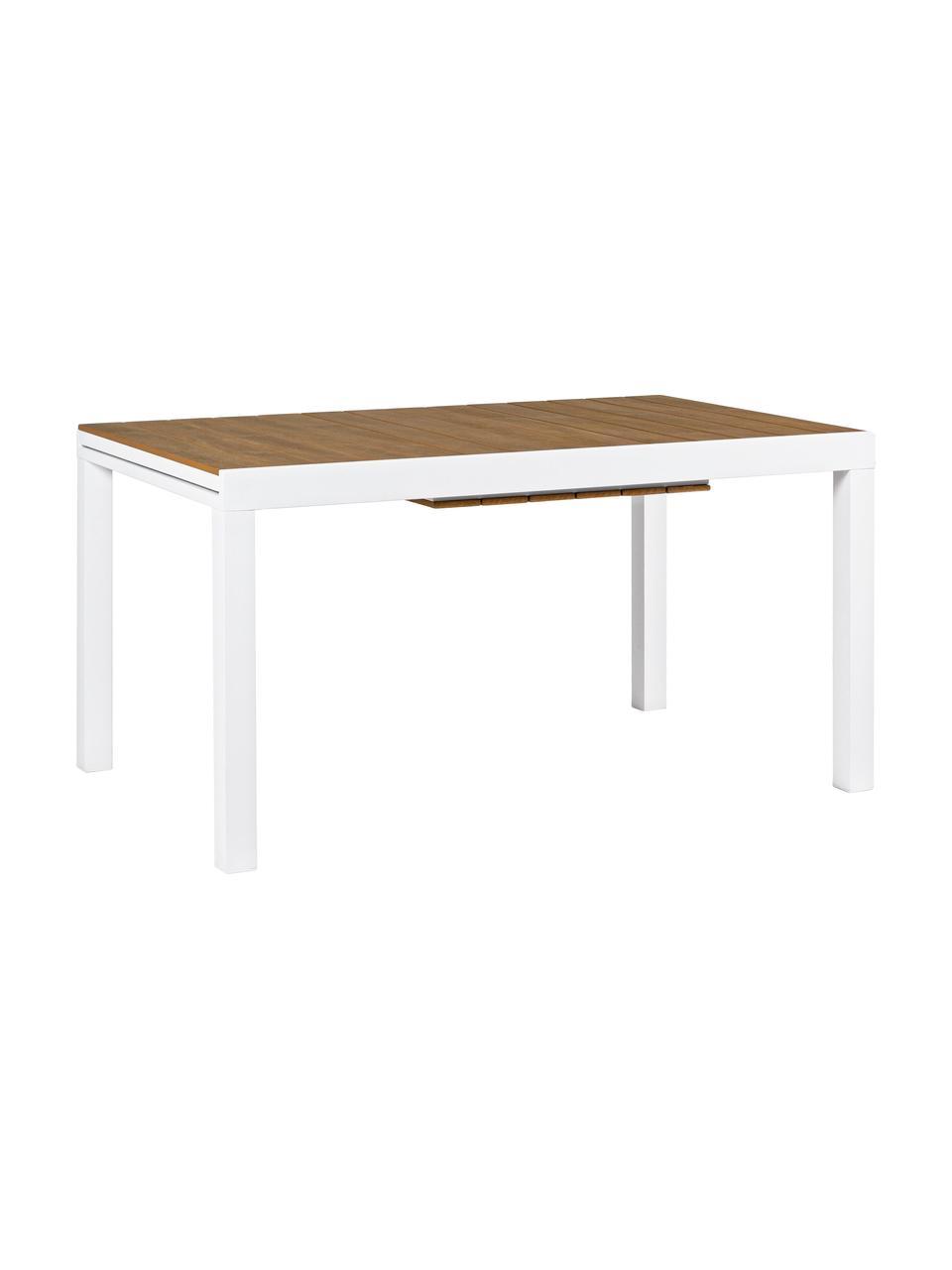 Ausziehbarer Gartentisch Elias, Tischplatte: Kunststoff, Beine: Aluminium, pulverbeschich, Weiß, Holz, B 140 x T 90 cm