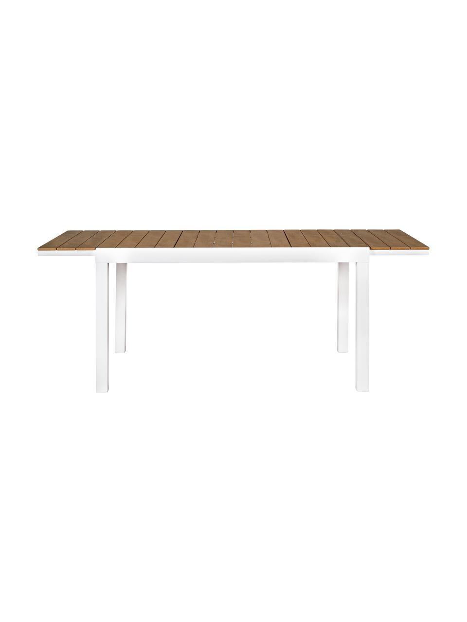 Tavolo da giardino allungabile Elias, Piano d'appoggio: materiale sintetico, Gambe: alluminio verniciato a po, Bianco, legno, Larg. 140 x Prof. 90 cm