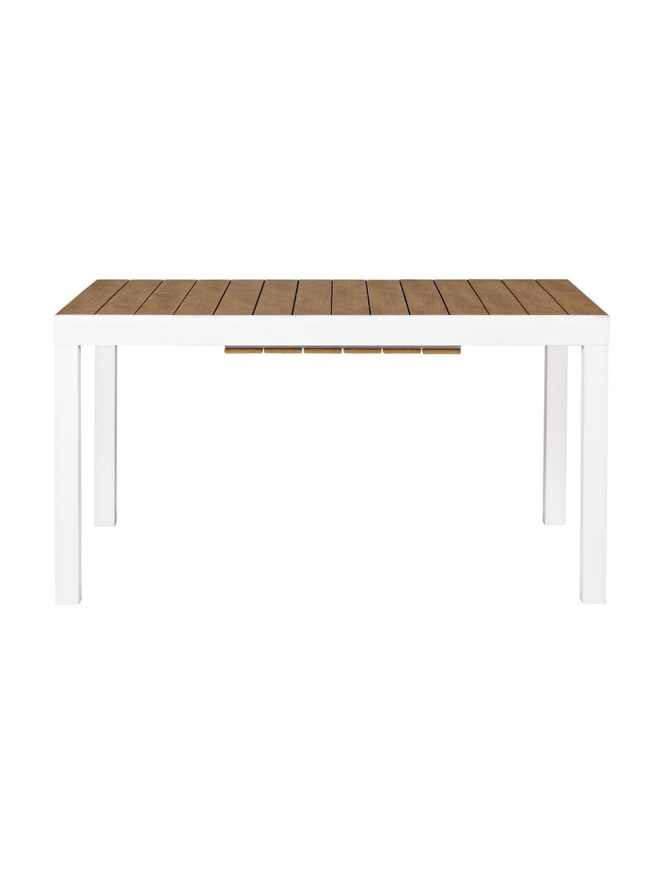 Table de jardin extensible Elias, Blanc, bois