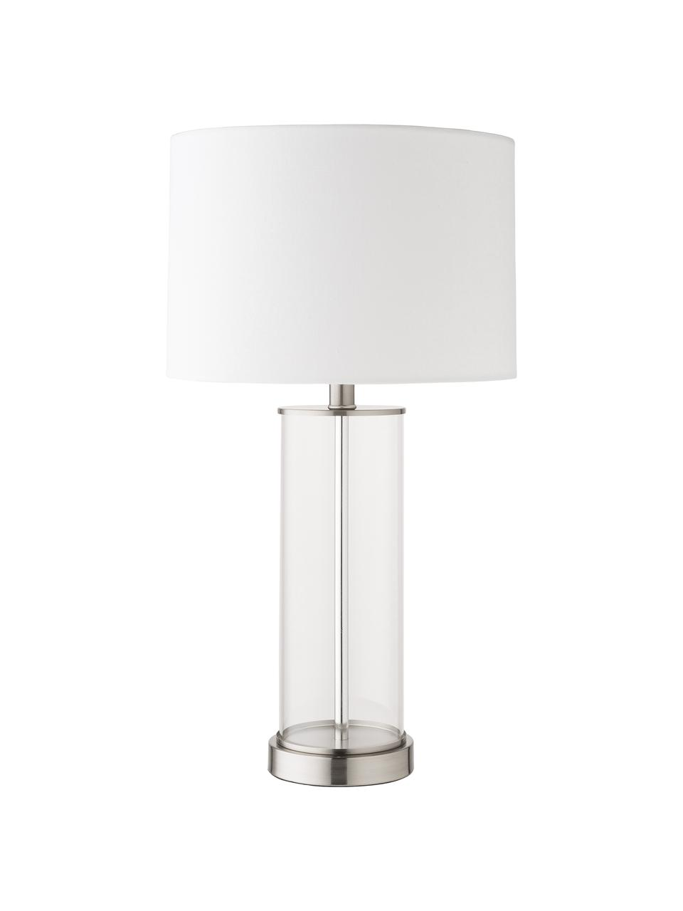 Große Tischlampe Abigail aus Glas und Leinen, Lampenschirm: Leinen, Lampenfuß: Glas, Sockel: Metall, vernickelt, Nickel, Ø 32 x H 61 cm