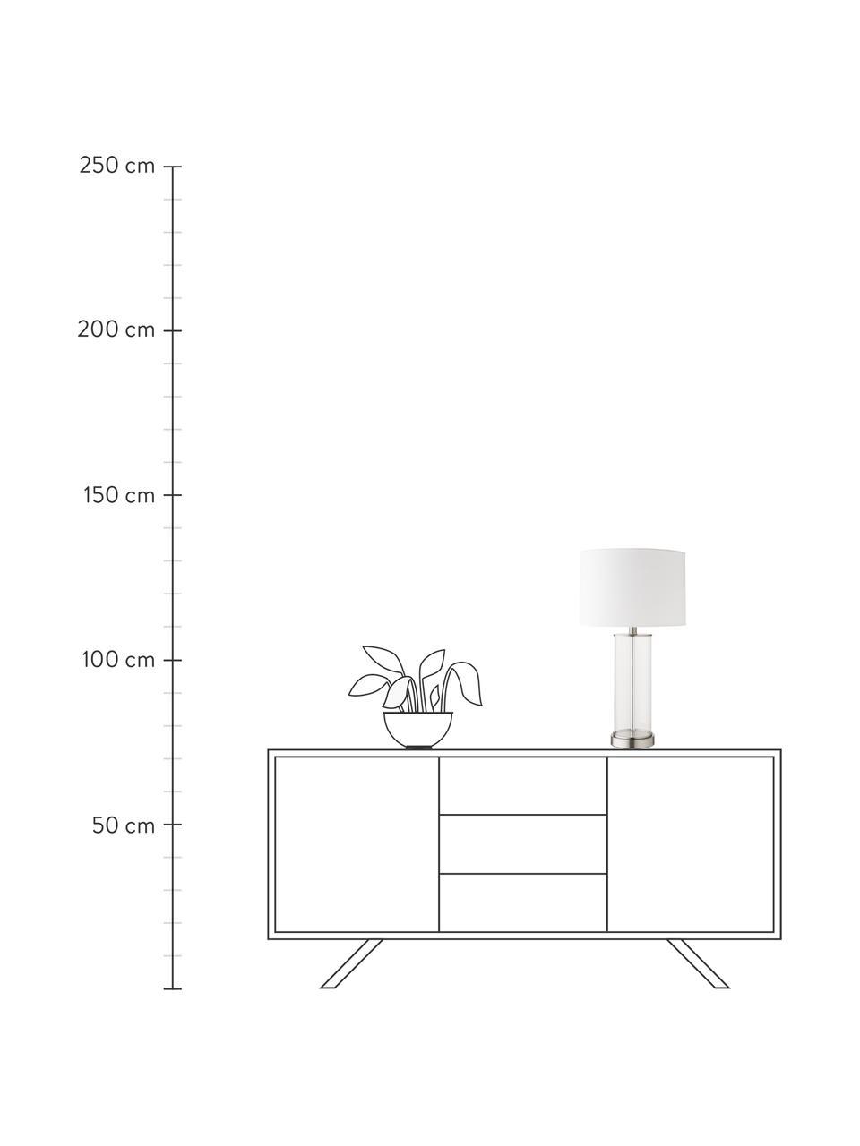 Lampa stołowa ze szkła i lnu Abigail, Nikiel, Ø 32 x W 61 cm