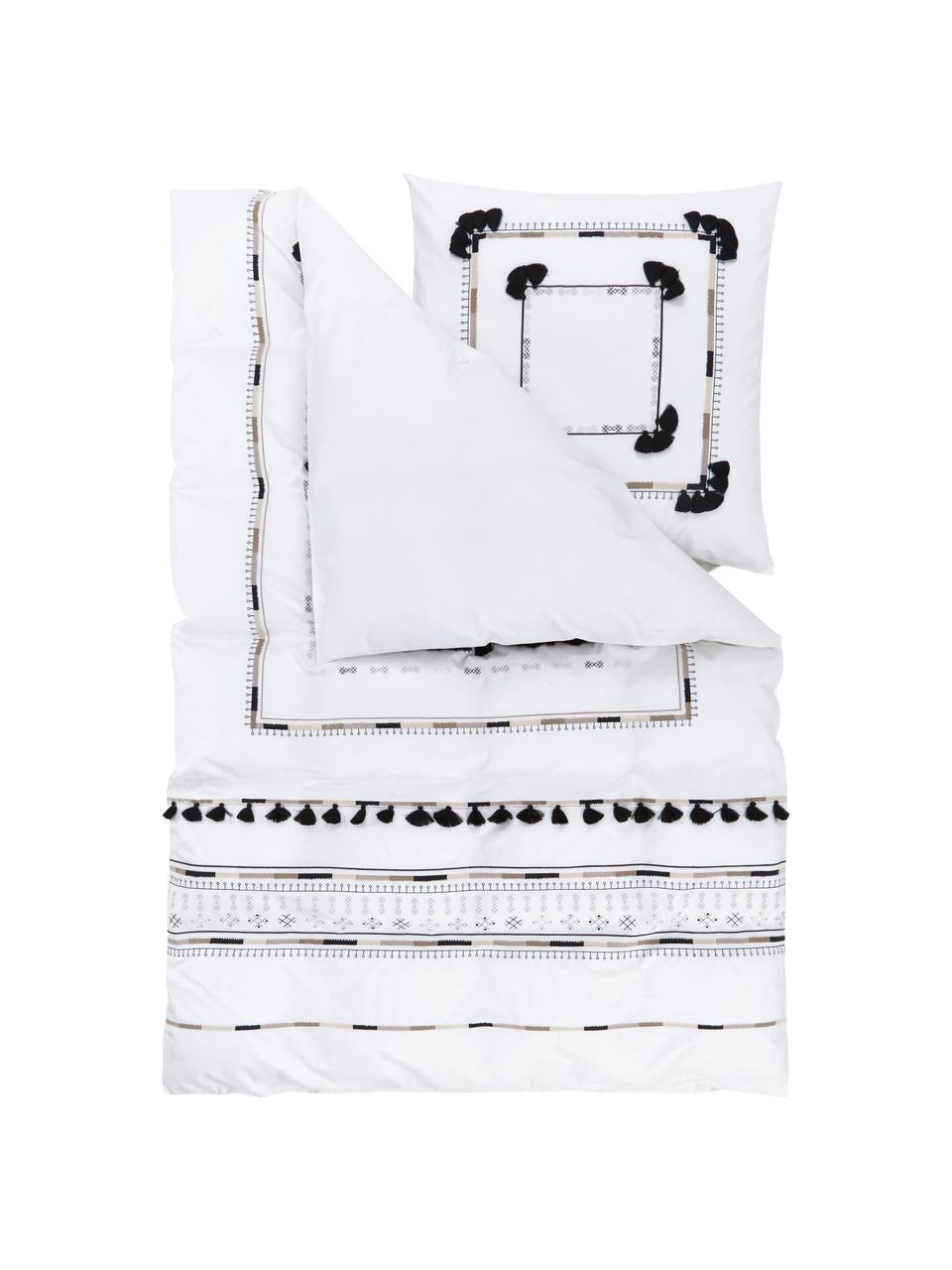 Bestickte Baumwollperkal-Bettwäsche Inda mit Quasten, Webart: Perkal Fadendichte 200 TC, Weiß, 240 x 220 cm + 2 Kissen 80 x 80 cm