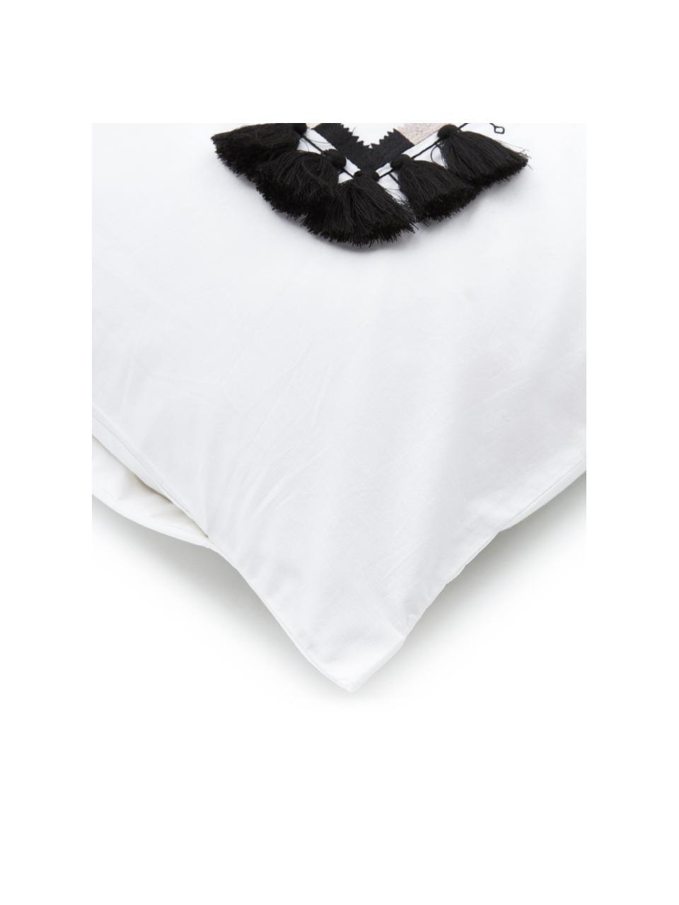 Haftowana pościel z bawełny z chwostami Inda, Biały, 200 x 200 cm + 2 poduszki 80 x 80 cm