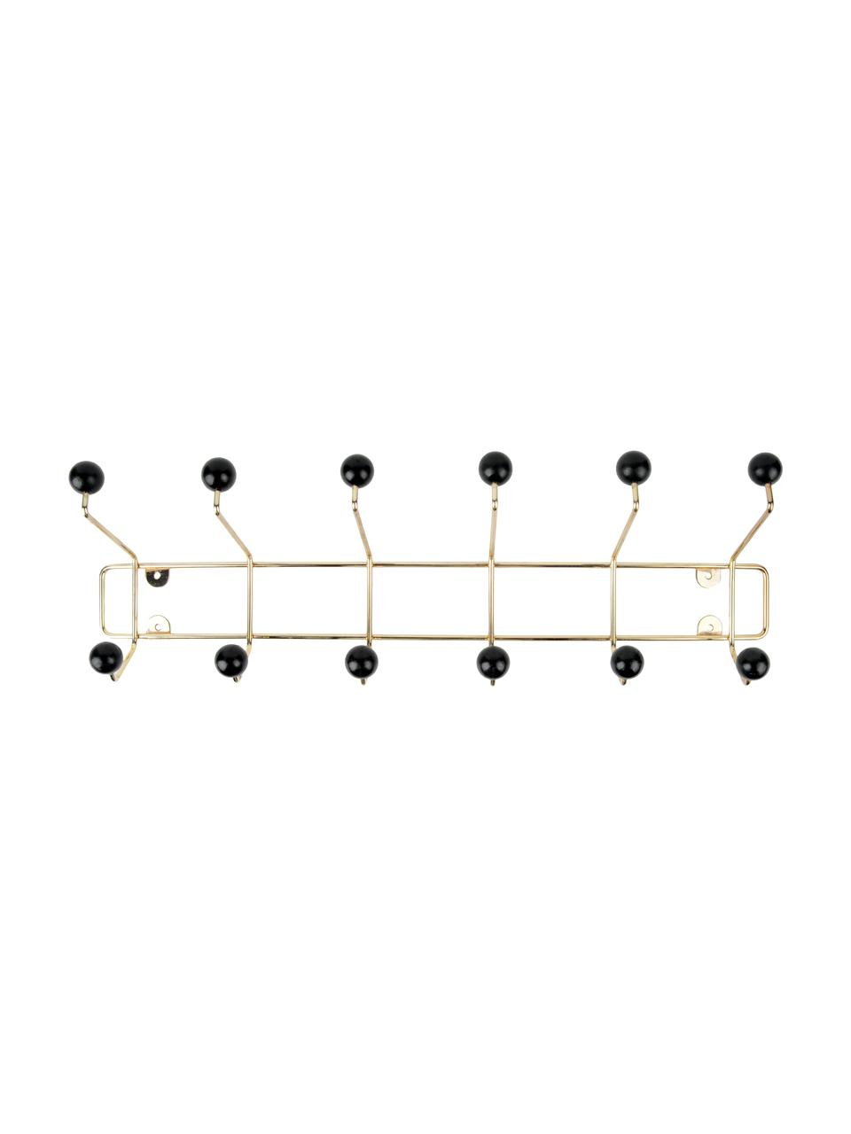 XL Metall-Garderobenhaken Saturnus, Gestell: Metall, lackiert, Haken: Kunststoff, Goldfarben, Schwarz, 54 x 16 cm