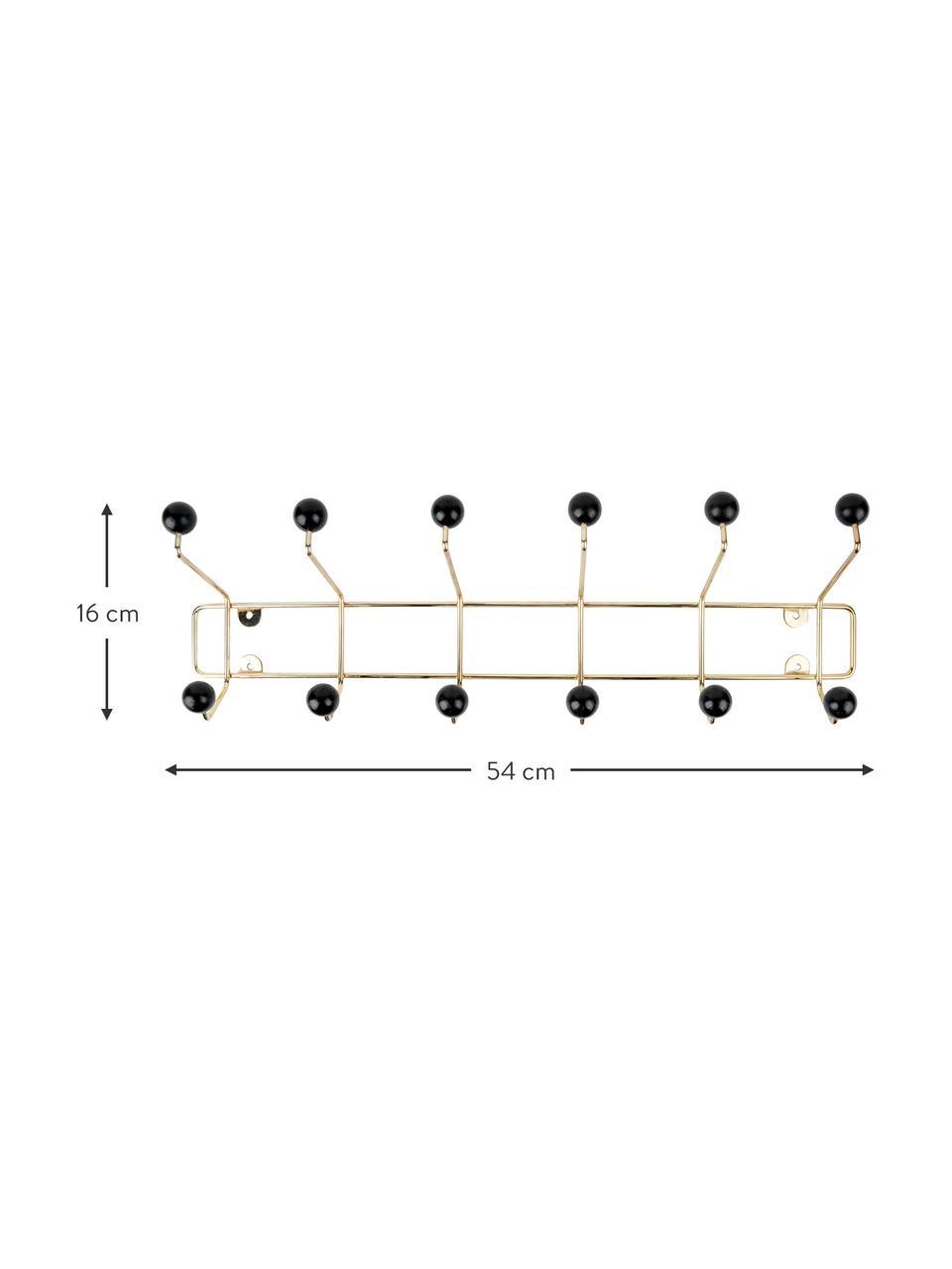 Perchero de pared grande de metal Saturnus, Dorado, negro, An 54 x Al 15 cm
