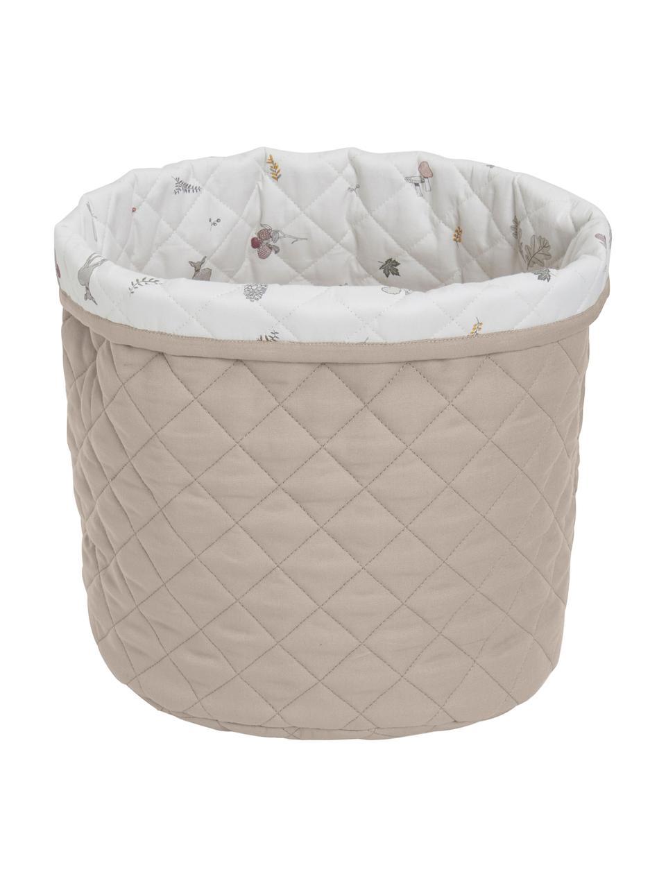Aufbewahrungskorb Fawn aus Bio-Baumwolle, Bezug: 100% Biobaumwolle, Öko-Te, Weiß, Braun, Beige, Ø 30 x H 33 cm