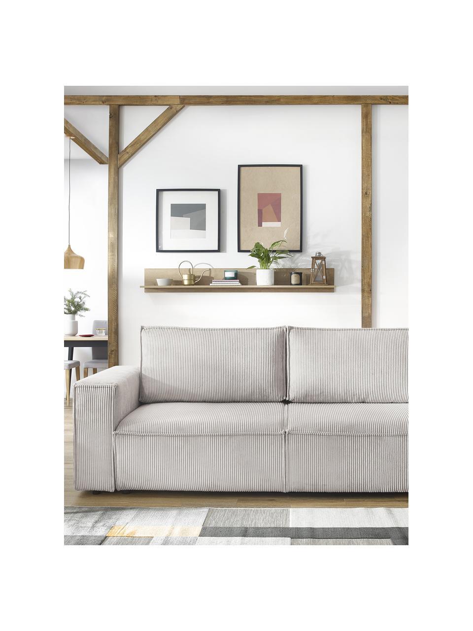 Sofa rozkładana ze sztruksu ze schowkiem Nihad (3-osobowa), Tapicerka: sztruks poliestrowy, Nogi: tworzywo sztuczne, Beżowy, S 245 x G 102 cm