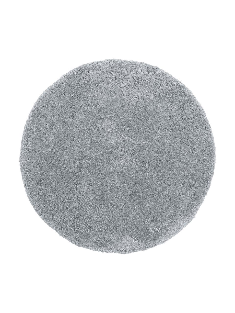 Tappeto peloso rotondo grigio scuro Leighton, Retro: 70% poliestere, 30% coton, Grigio, Ø 200 cm (taglia L)