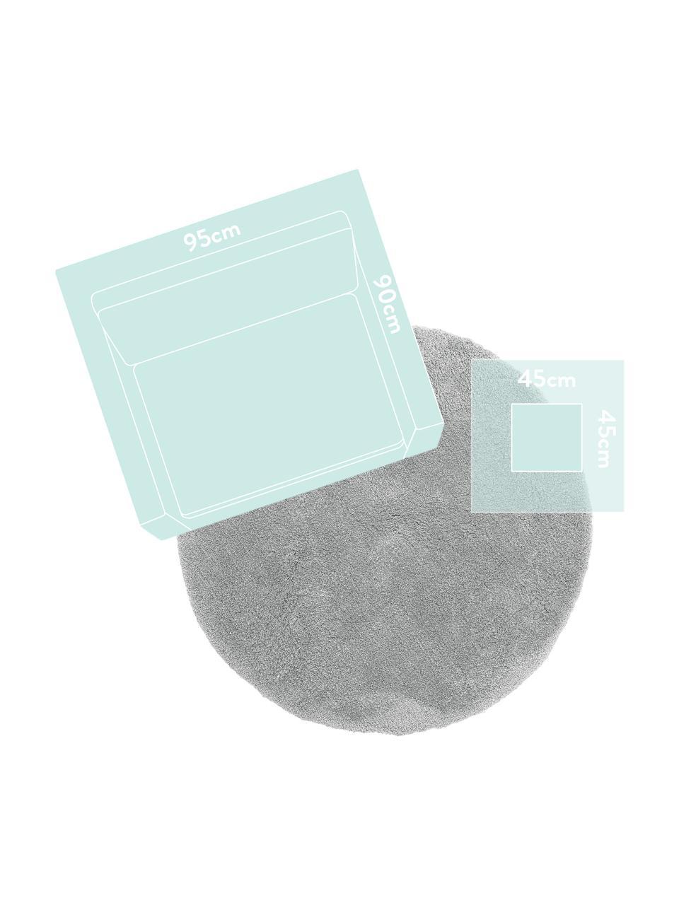 Pluizig rond hoogpolig vloerkleed Leighton in grijs, Bovenzijde: microvezels (100% polyest, Onderzijde: 70% polyester, 30% katoen, Grijs, Ø 200 cm (maat L)