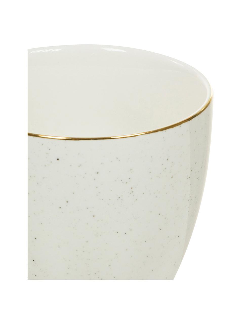 Tazza da caffè fatta a mano Bella 2 pz, Porcellana, Bianco crema, Ø 9 x Alt. 9 cm