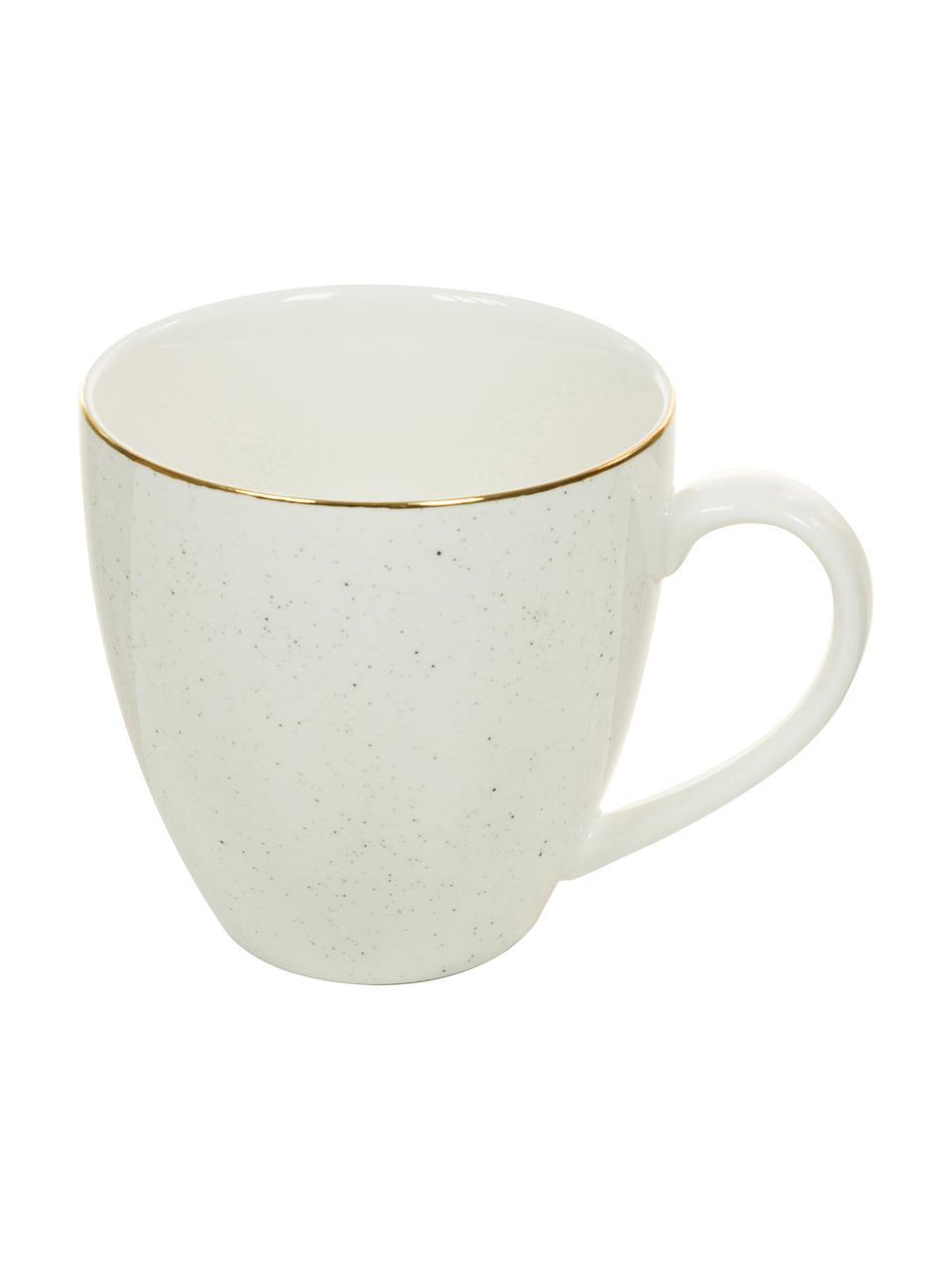 Handgemachte Kaffeetassen Bella mit Goldrand, 2 Stück, Porzellan, Cremeweiß, Ø 9 x H 9 cm