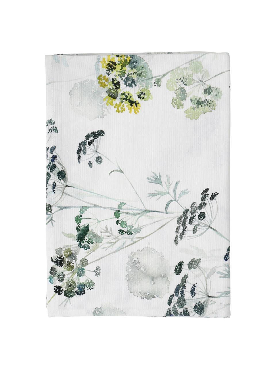 Katoenen tafelkleed Herbier met bloemmotief, Katoen, Wit, groen, Voor 6 - 8 personen (B 160 x L 260 cm)