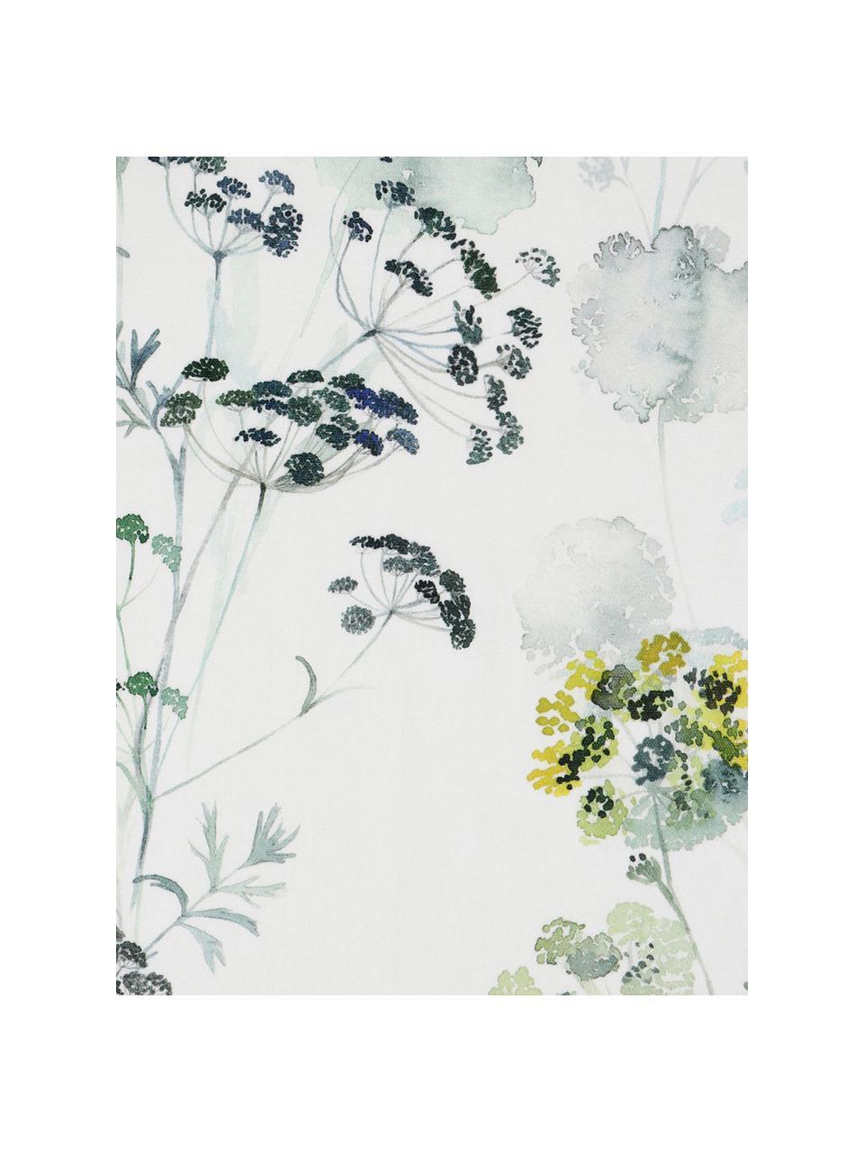 Tovaglia in cotone con motivo floreale Herbier, Cotone, Bianco, verde, Per 6-10 persone (Larg.160 x Lung. 260 cm)