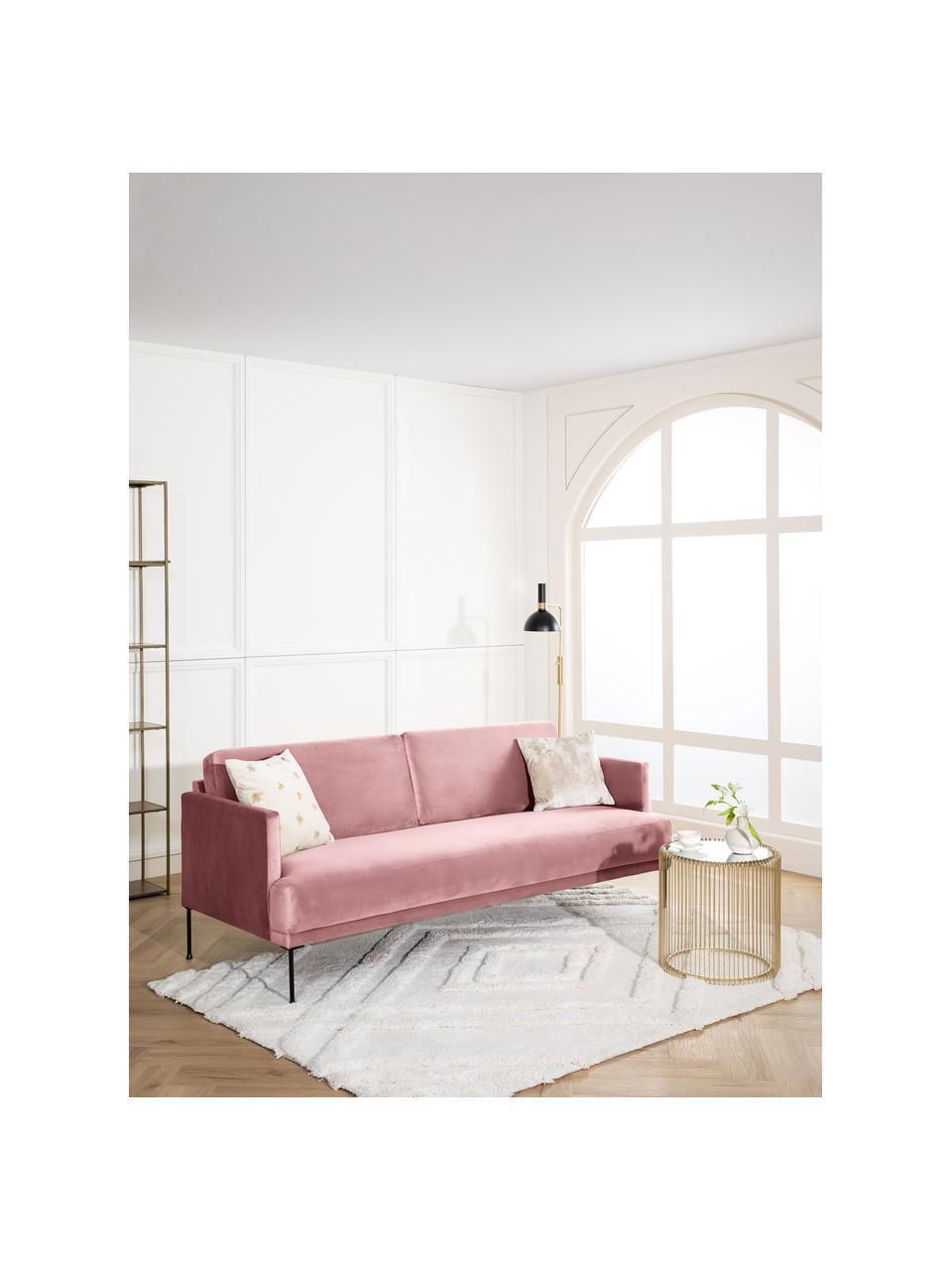 Samt-Sofa Fluente (3-Sitzer) in Rosa mit Metall-Füßen, Bezug: Samt (Hochwertiger Polyes, Gestell: Massives Kiefernholz, Füße: Metall, pulverbeschichtet, Samt Rosa, B 196 x T 85 cm