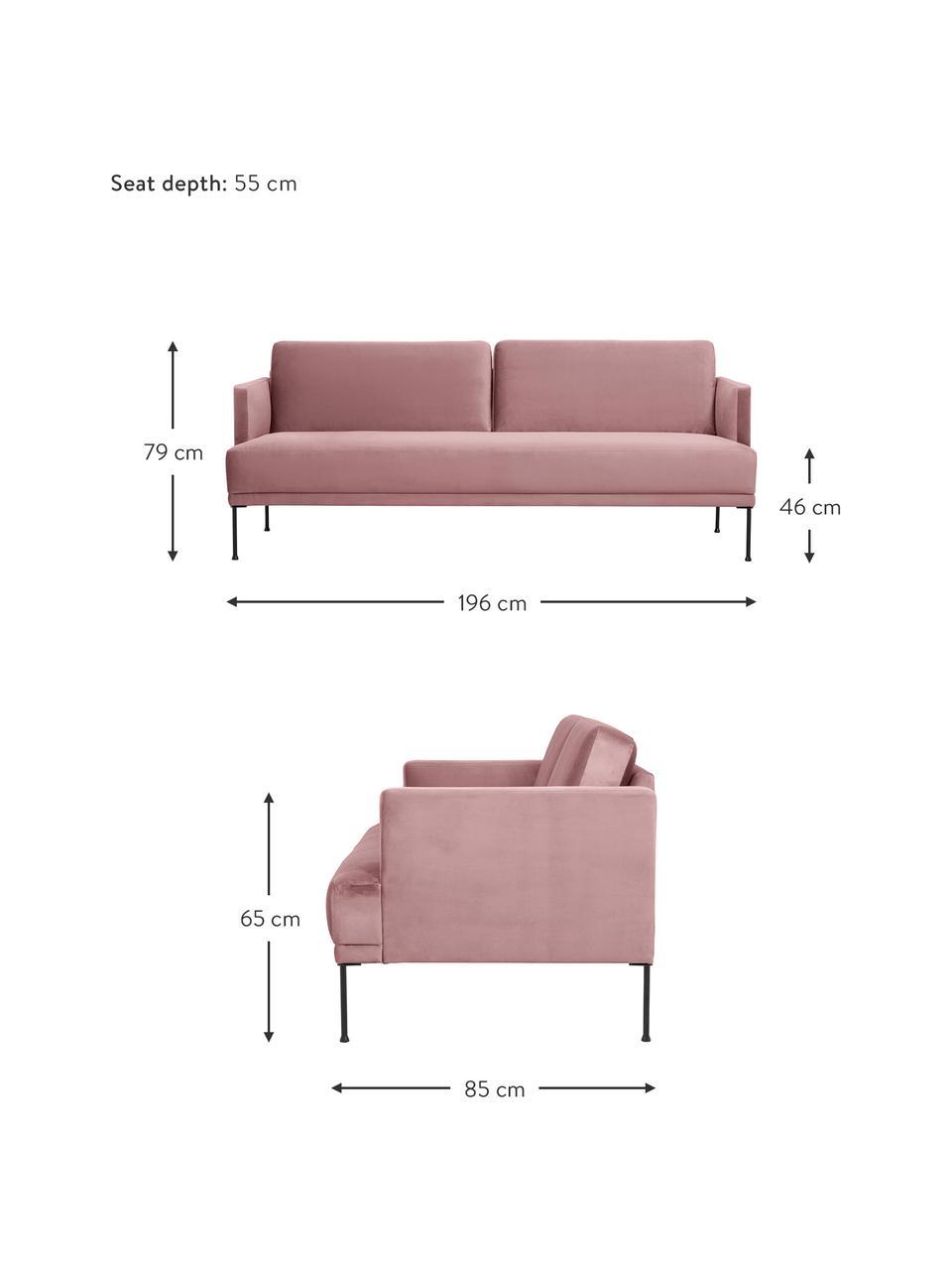 Fluwelen bank Fluente (3-zits) in roze met metalen poten, Bekleding: fluweel (hoogwaardig poly, Frame: massief grenenhout, Poten: gepoedercoat metaal, Fluweel roze, B 196 x D 85 cm