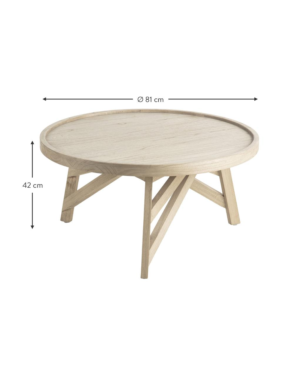 Stolik kawowy z drewna naturalnego Tenda, Drewno mindi, Beżowy, Ø 81 x W 81 cm