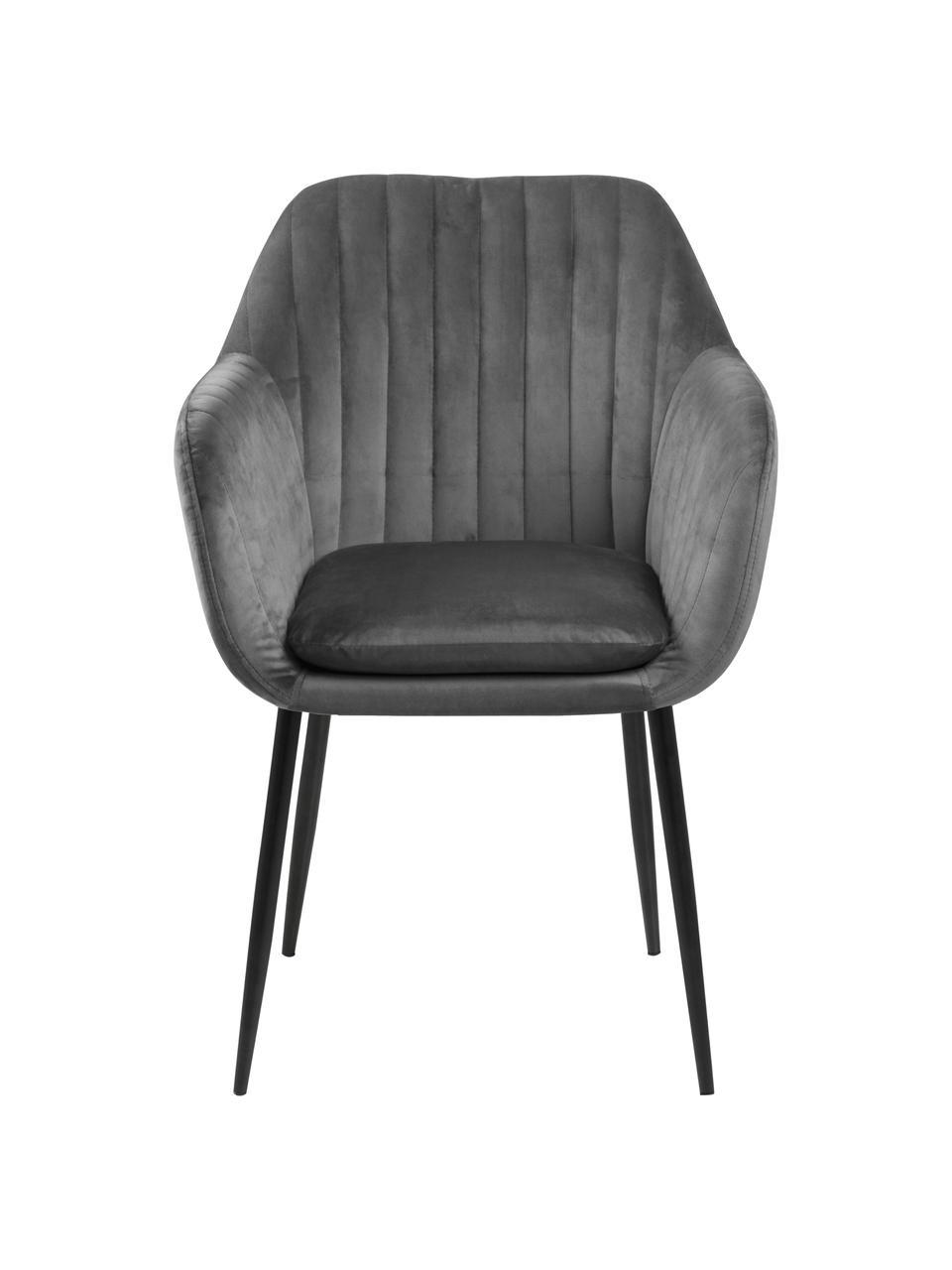 Chaise velours rembourrée pieds en métal Emilia, Velours gris foncé, pieds noir