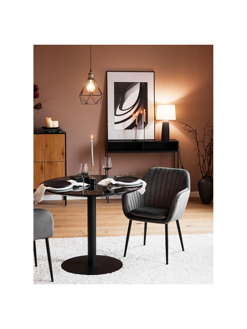 Krzesło z podłokietnikami z aksamitu i metalowymi nogami Emilia, Tapicerka: aksamit poliestrowy Dzięk, Nogi: metal lakierowany, Aksamitny ciemny szary, czarny, S 57 x G 59 cm