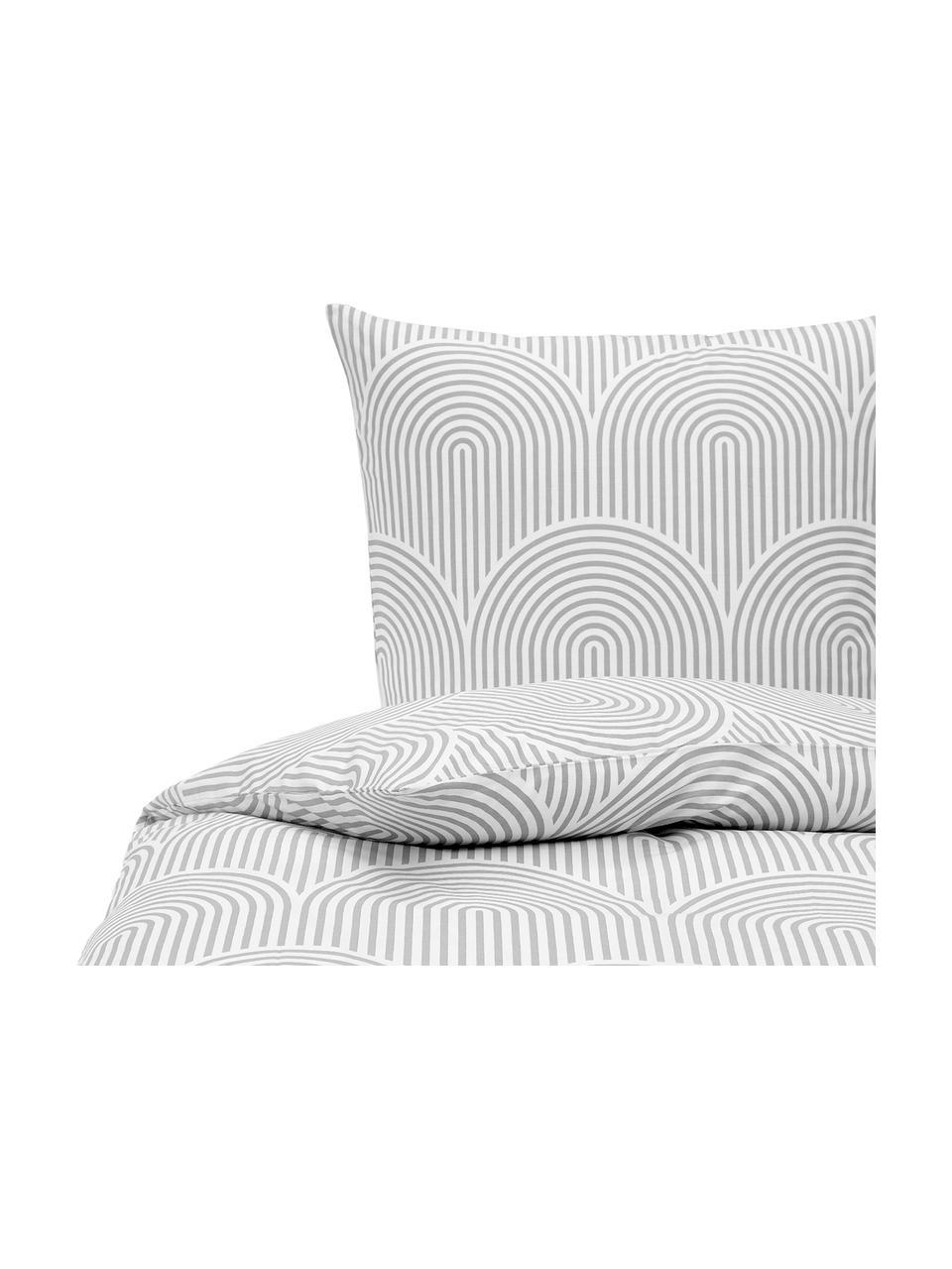 Gemusterte Baumwoll-Bettwäsche Arcs in Grau/Weiß, Webart: Renforcé Fadendichte 144 , Grau,Weiß, 135 x 200 cm + 1 Kissen 80 x 80 cm