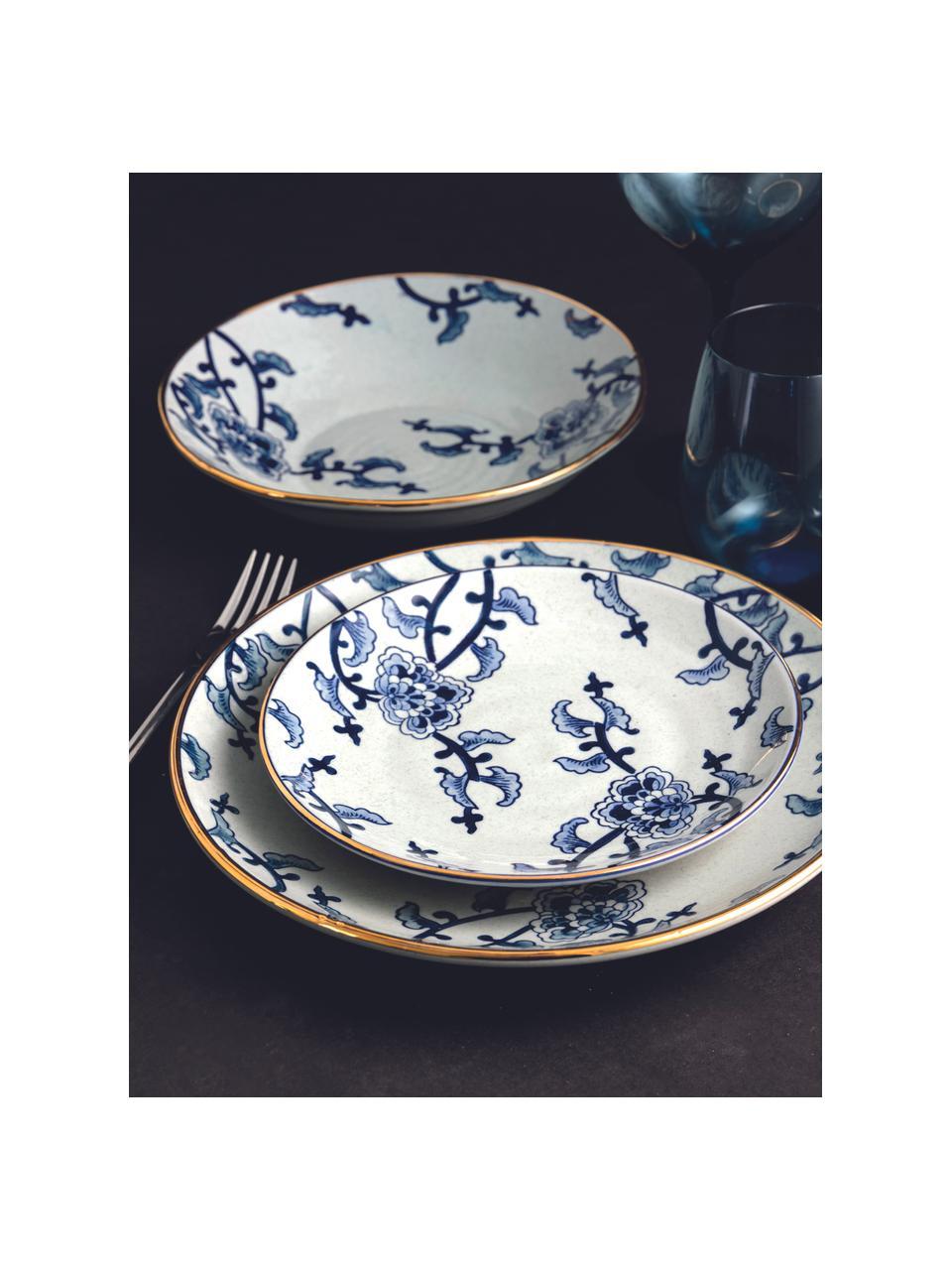 Set 18 piatti con bordo dorato per 6 persone Hamasei, Porcellana, Bianco, blu scuro, Set in varie misure