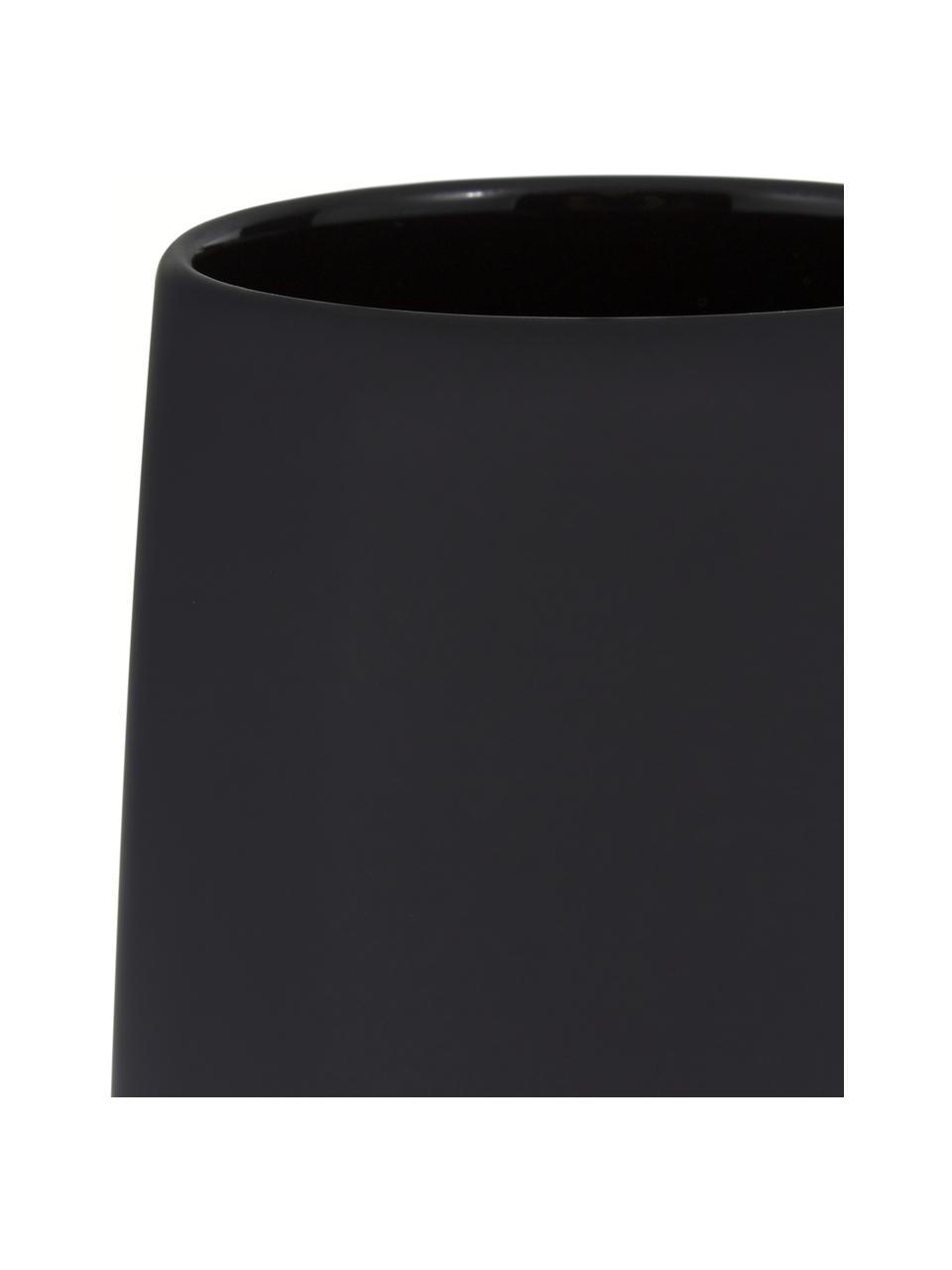 Porzellan-Zahnputzbecher Nova One, Porzellan, Schwarz, Ø 8 x H 10 cm