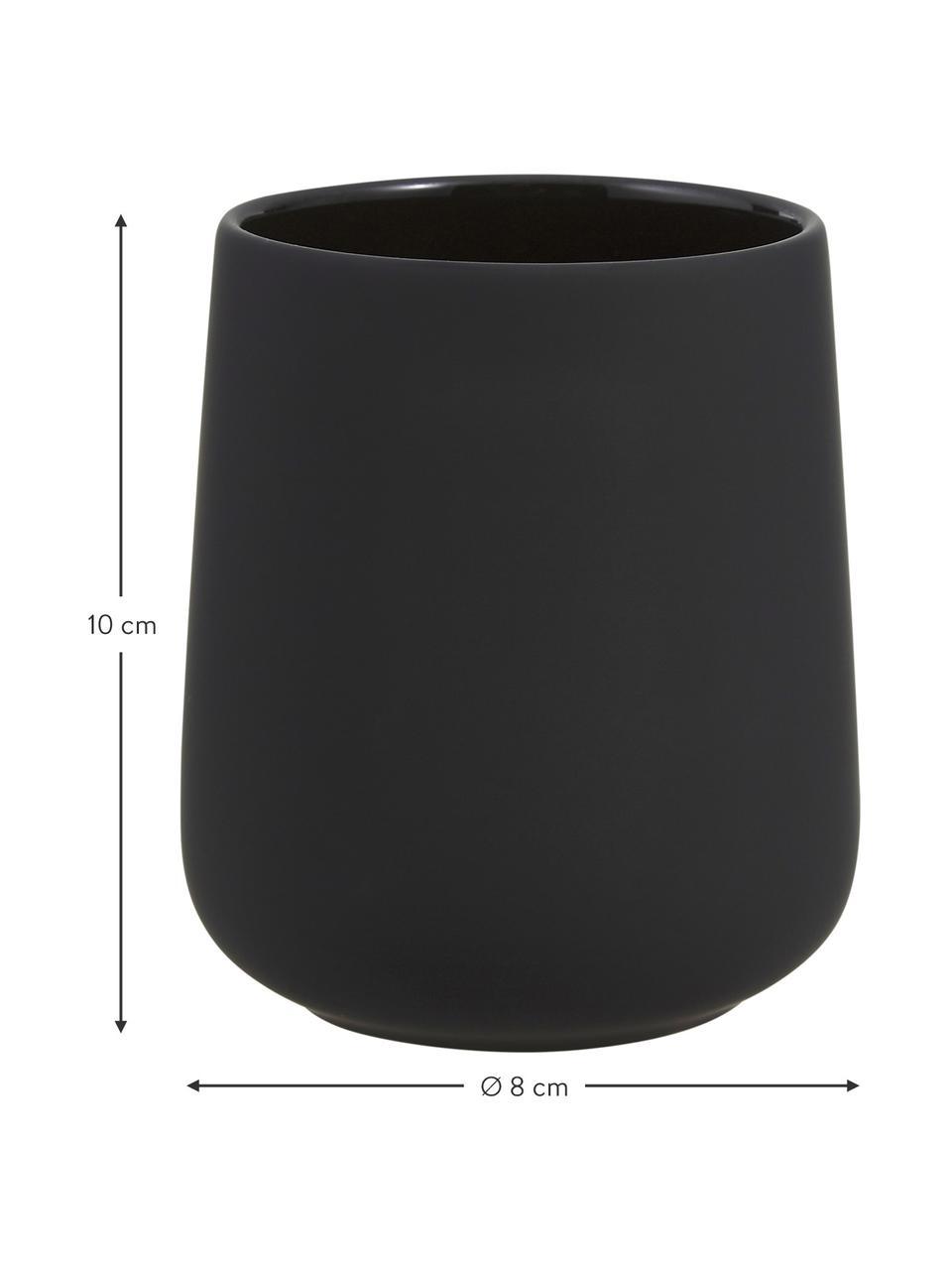 Porta spazzolini in porcellana Clean, Porcellana, Nero, Ø 8 x Alt. 10 cm