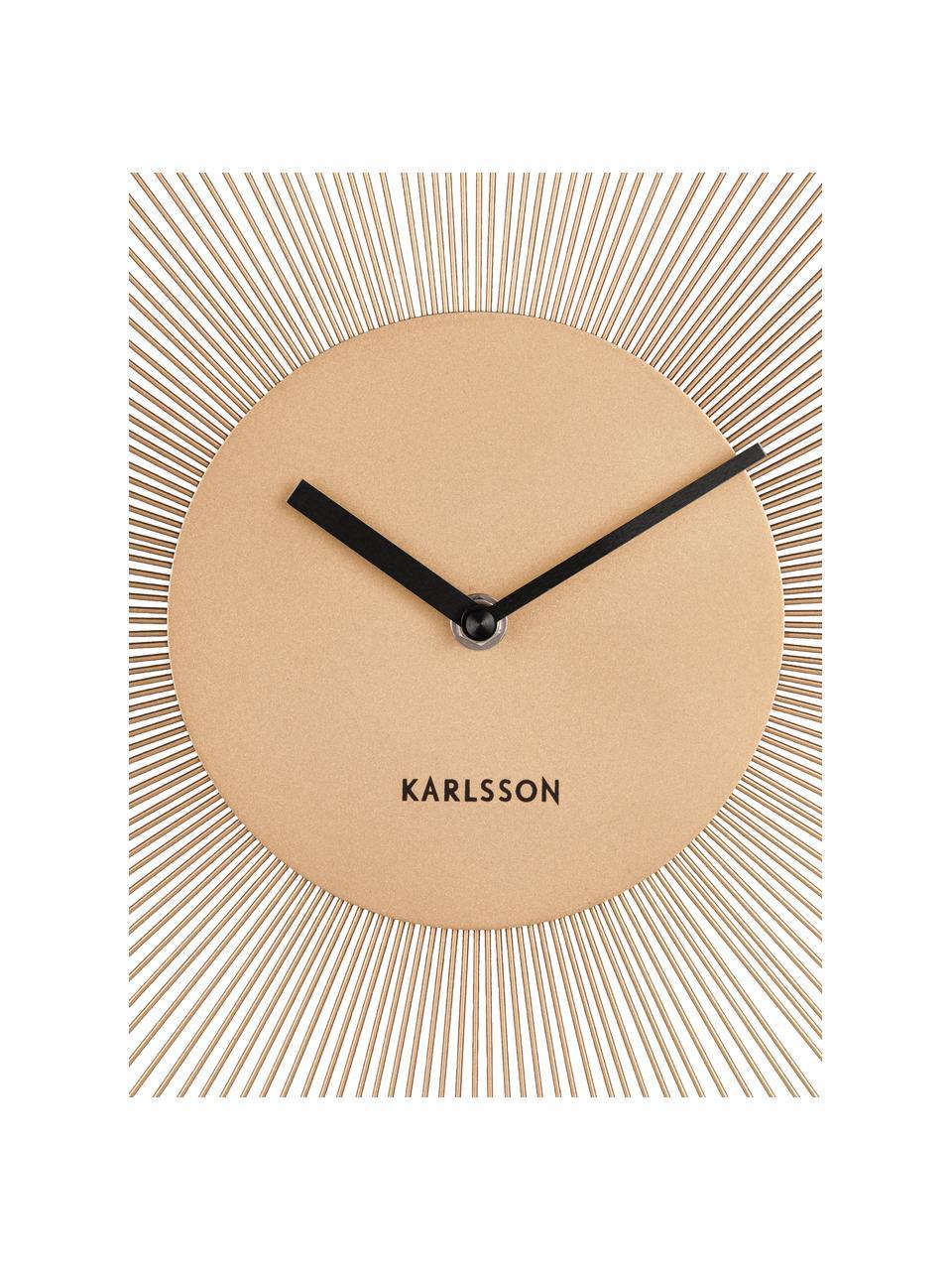 Zegar ścienny Peony, Metal powlekany, Odcienie mosiądzu, czarny, Ø 45 cm