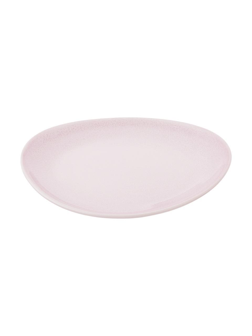 Ręcznie wykonany talerz śniadaniowy Amalia, 2 szt., Porcelana, Jasny różowy, kremowobiały, Ø 20 cm