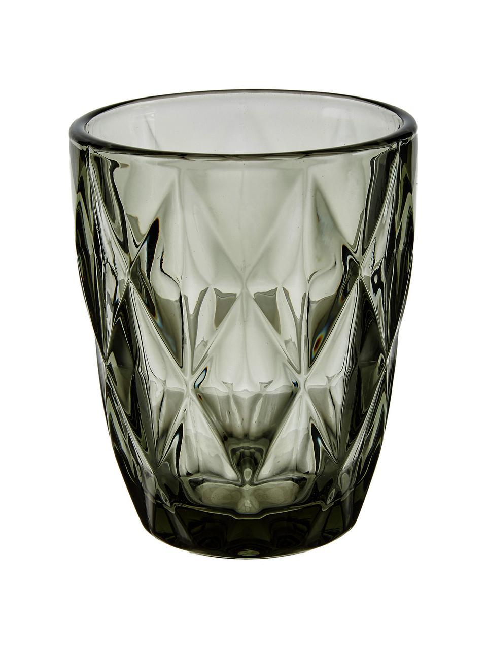 Wassergläser Colorado mit Strukturmuster, 4 Stück, Glas, Grau, Transparent, Ø 8 x H 10 cm