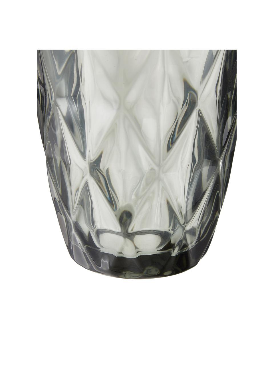 Bicchiere acqua con motivo a rilievo Colorado 4 pz, Vetro, Grigio trasparente, Ø 8 x Alt. 10 cm
