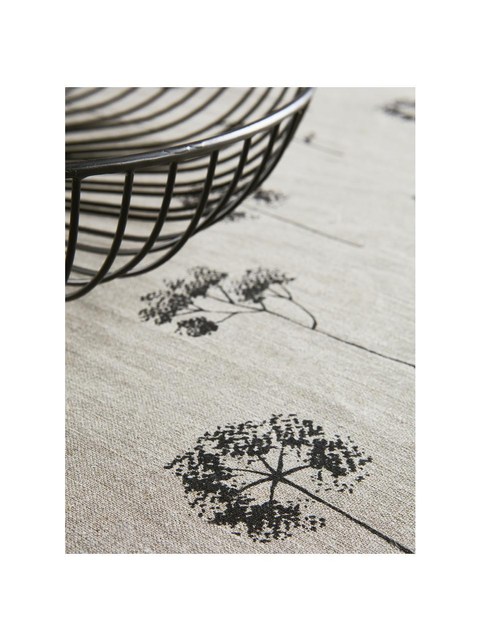 Obrus z bawełny Leaf, 100% bawełna, Beżowy, czarny, Dla 4-6 osób (S 145 x D 200 cm)