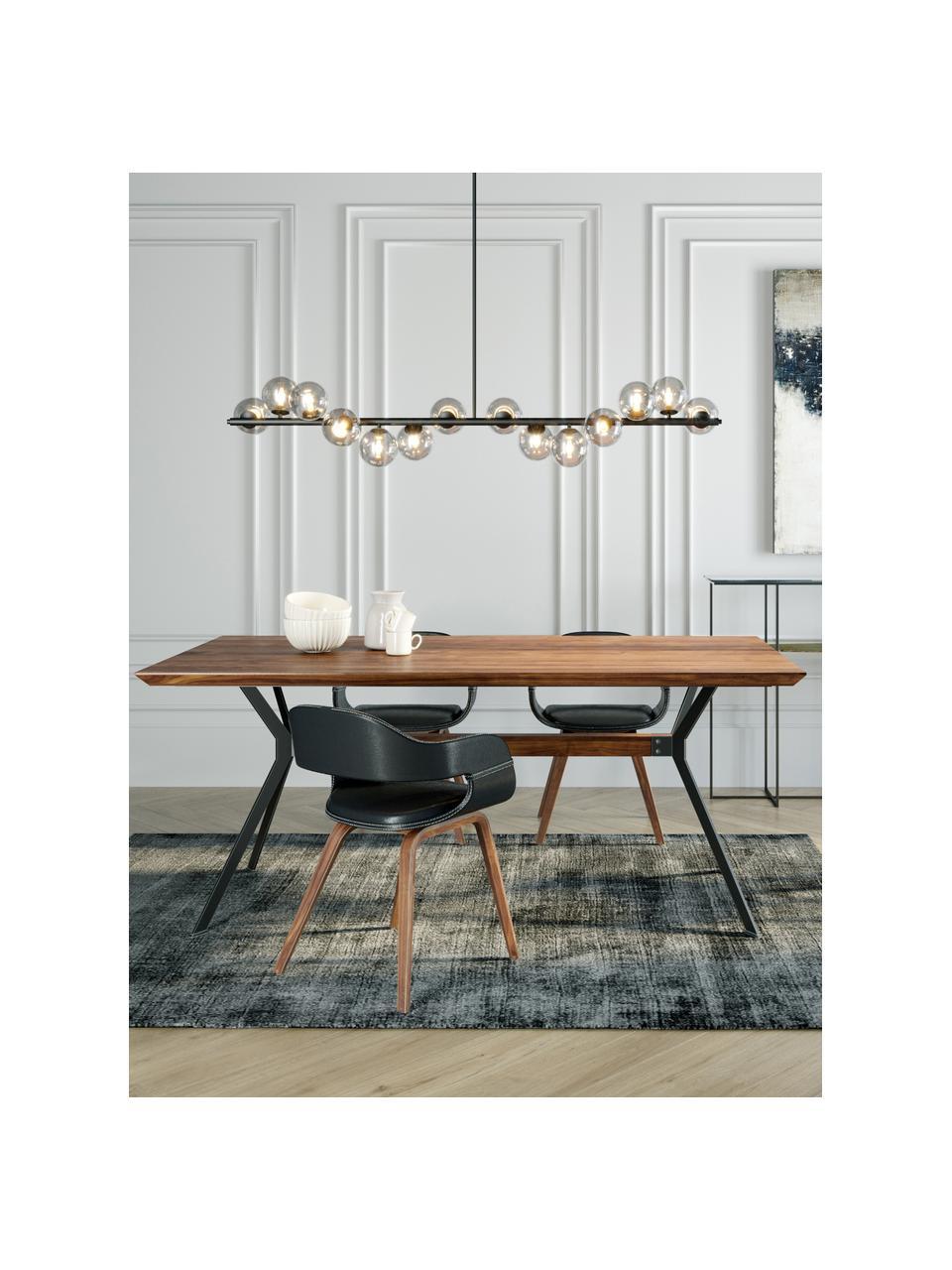 Tavolo con piano in legno massello Downtown, Gambe: acciaio verniciate a polv, Marrone, nero, Larg. 180 x Prof. 90 cm