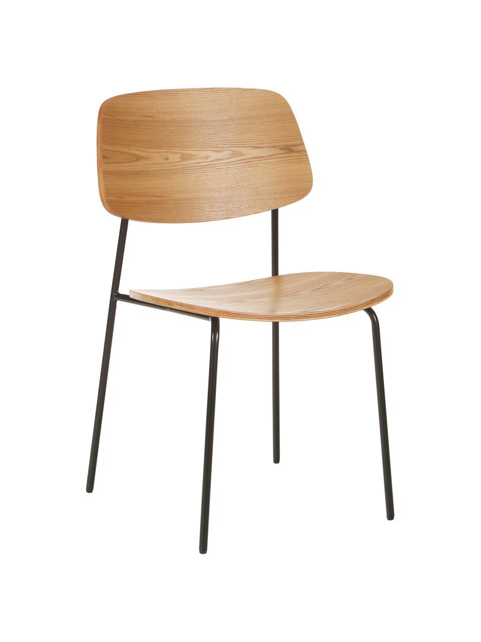 Krzesło z drewna Nadja, 2 szt., Nogi: metal malowany proszkowo, Fornir z drewna jesionowego, S 50 x G 53 cm