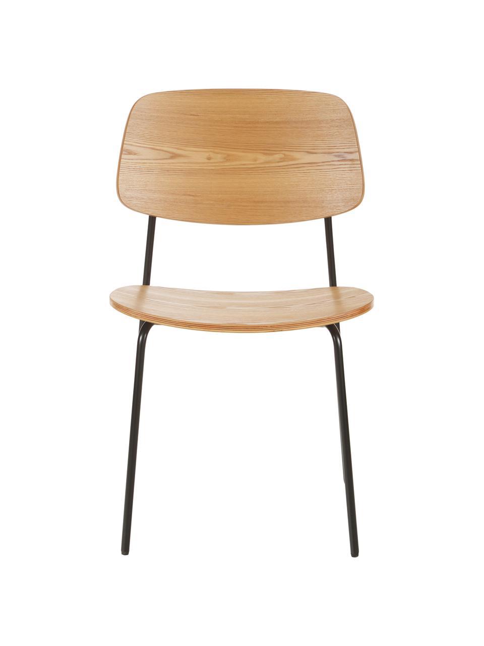 Houten stoelen Nadja, 2 stuks, Zitvlak: multiplex met essenhoutfi, Poten: gepoedercoat metaal, Essenhoutfineer, 50 x 53 cm