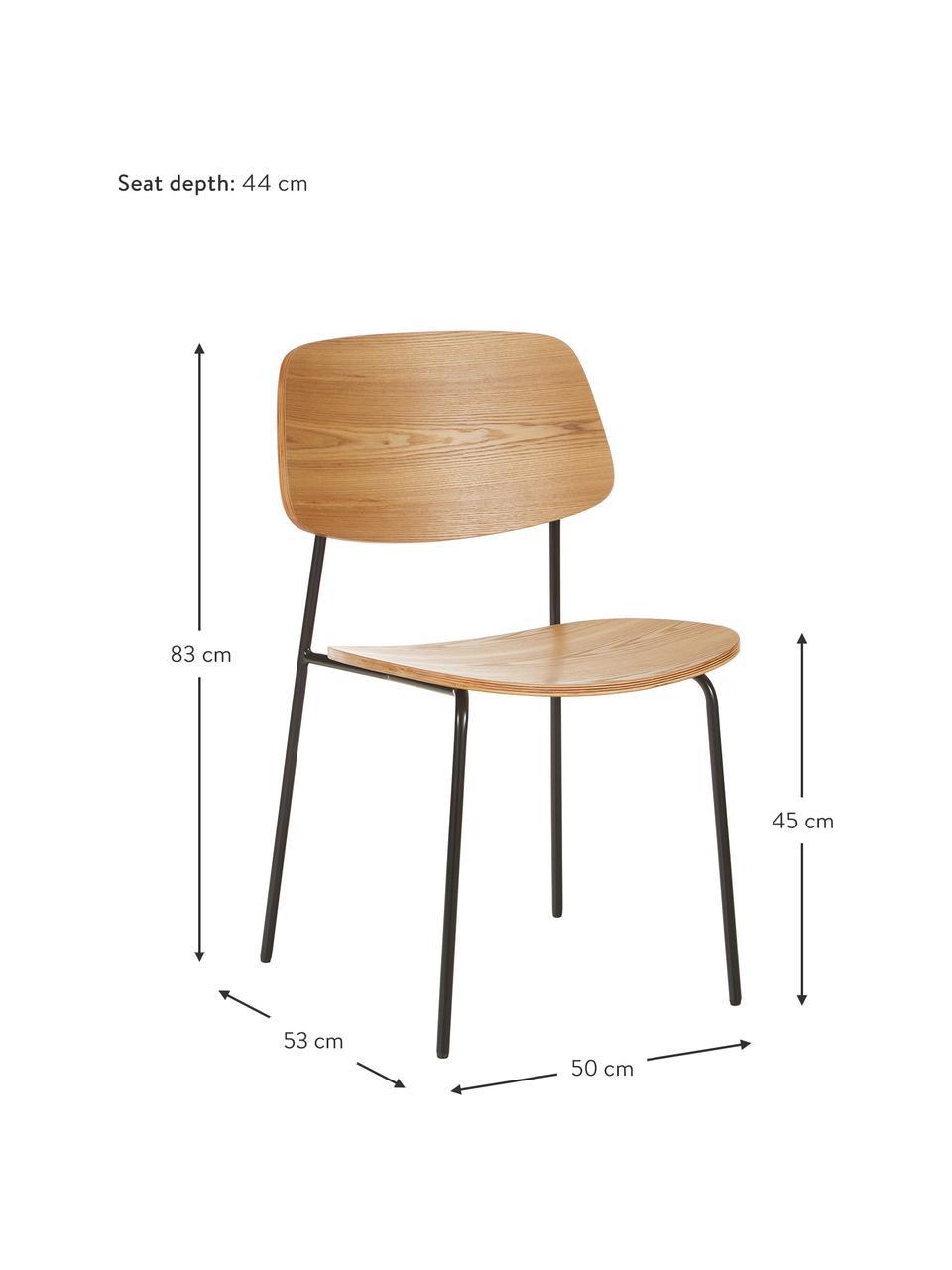 Holzstühle Nadja, 2 Stück, Sitzfläche: Sperrholz mit Eschenholzf, Beine: Metall, pulverbeschichtet, Eschenholzfunier, B 50 x T 53 cm