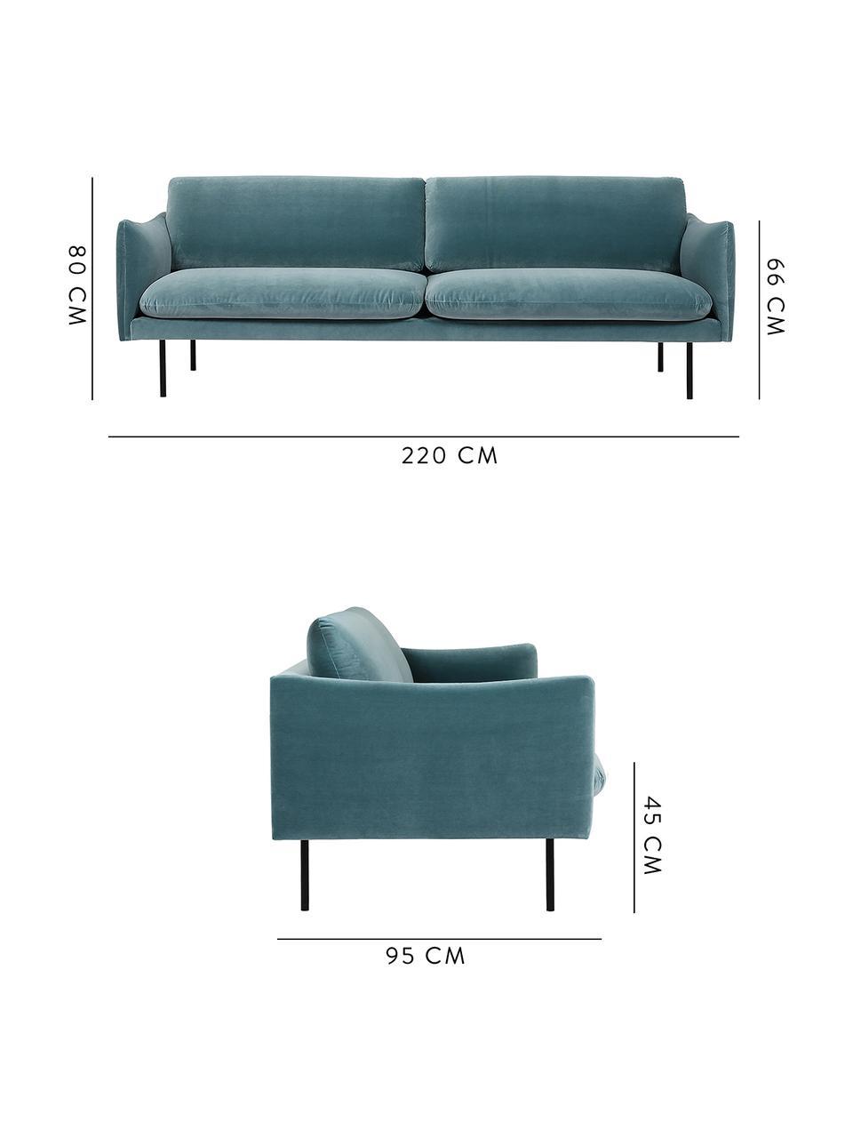 Sofa z aksamitu z metalowymi nogami Moby (3-osobowa), Tapicerka: aksamit (wysokiej jakości, Stelaż: lite drewno sosnowe, Nogi: metal malowany proszkowo, Aksamitny turkusowy, S 220 x G 95 cm