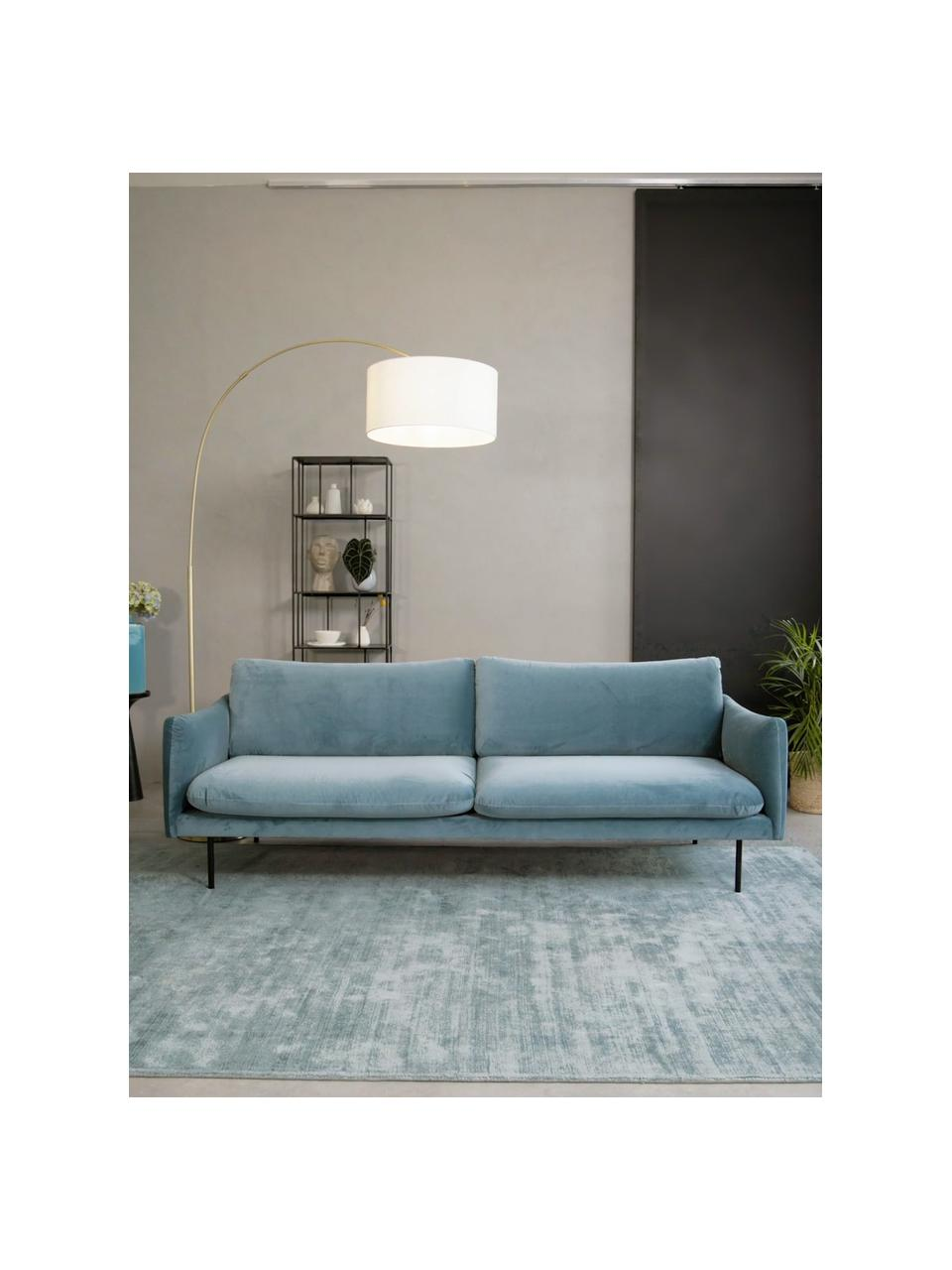 Canapé 3places velours turquoise Moby, Velours turquoise
