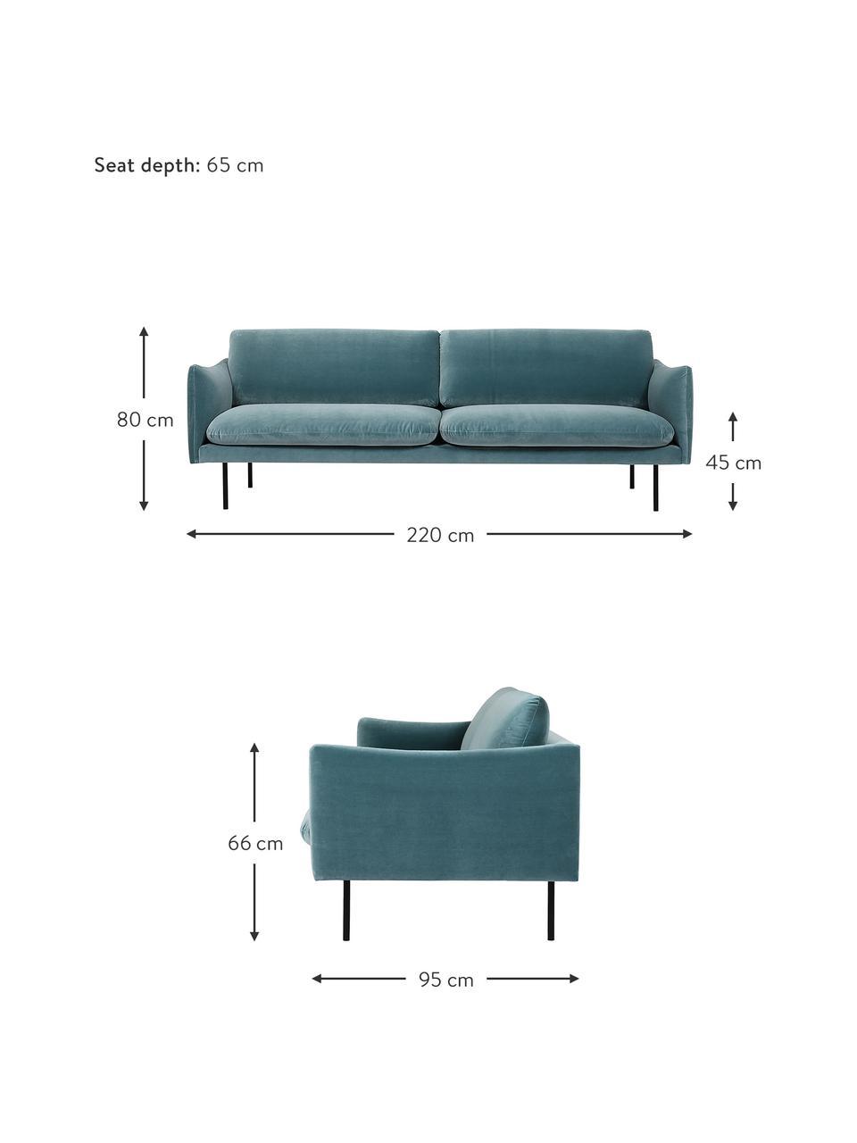 Fluwelen bank Moby (3-zits) in turquoise met metalen poten, Bekleding: fluweel (hoogwaardig poly, Frame: massief grenenhout, Poten: gepoedercoat metaal, Fluweel turquoise, B 220 x D 95 cm