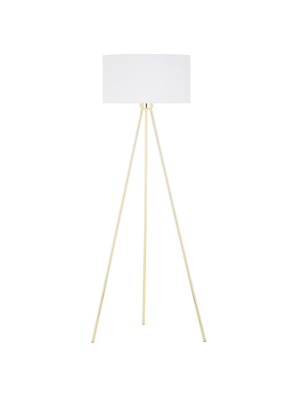 Stojací lampa s látkovým stínidlem Cella, Podstava lampy: lesklá zlatá Stínidlo: bílá