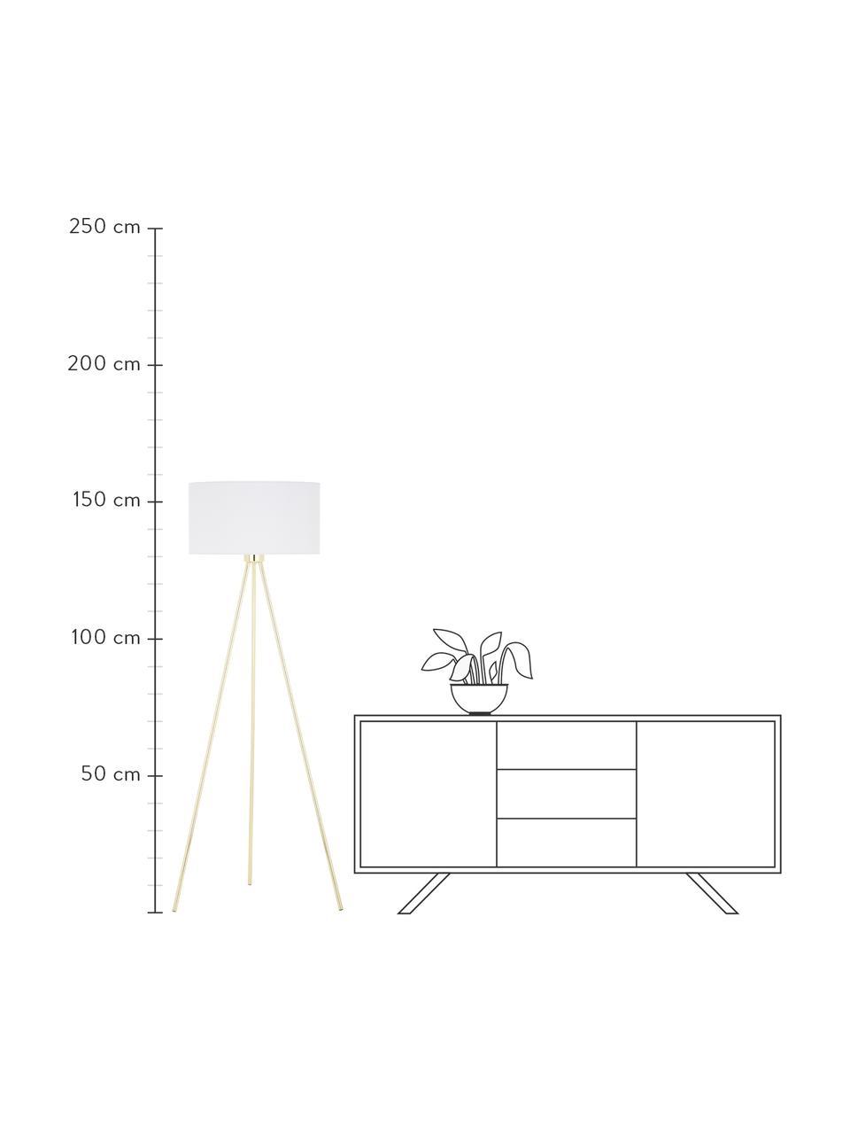 Driepoot vloerlamp Cella met stoffen kap, Lampenkap: katoenmix, Lampvoet: metaal, Lampvoet: glanzend goudkleurig. Lampenkap: wit, Ø 48 x H 158 cm