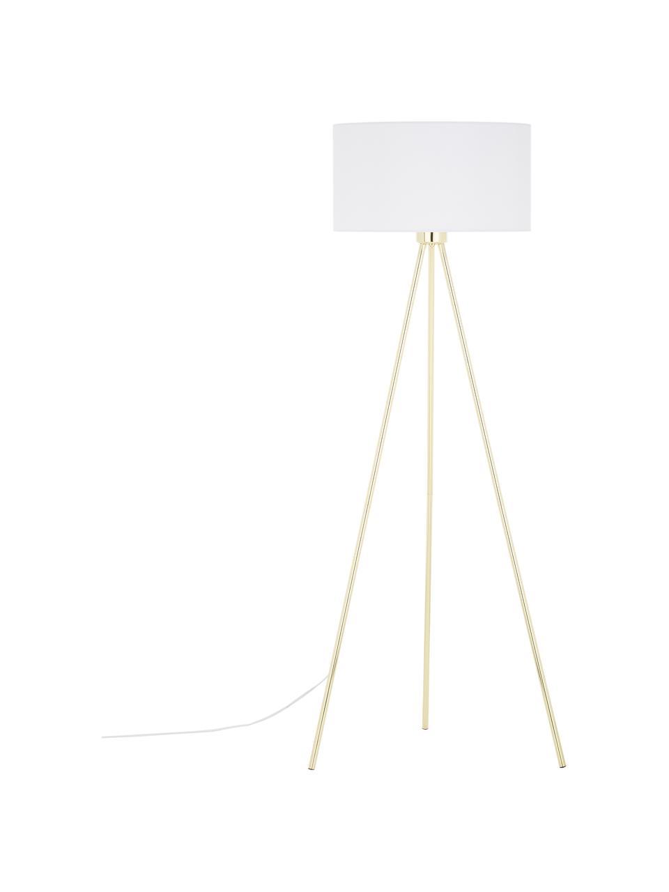 Lampadaire trépied scandinave Cella, Pied de lampe: couleur dorée, brillant Abat-jour: blanc